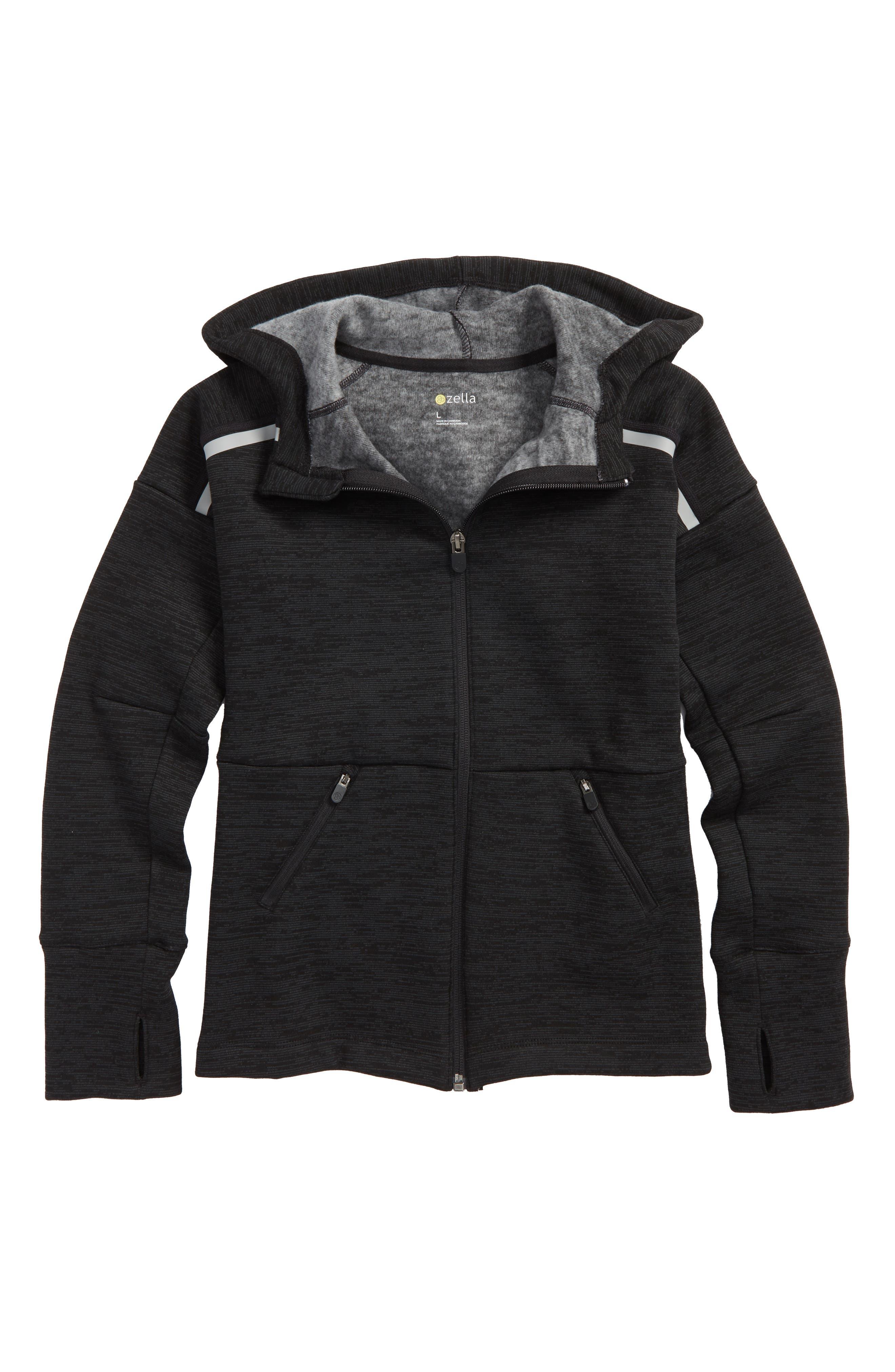 Reflective Fleece Hoodie,                         Main,                         color, Black