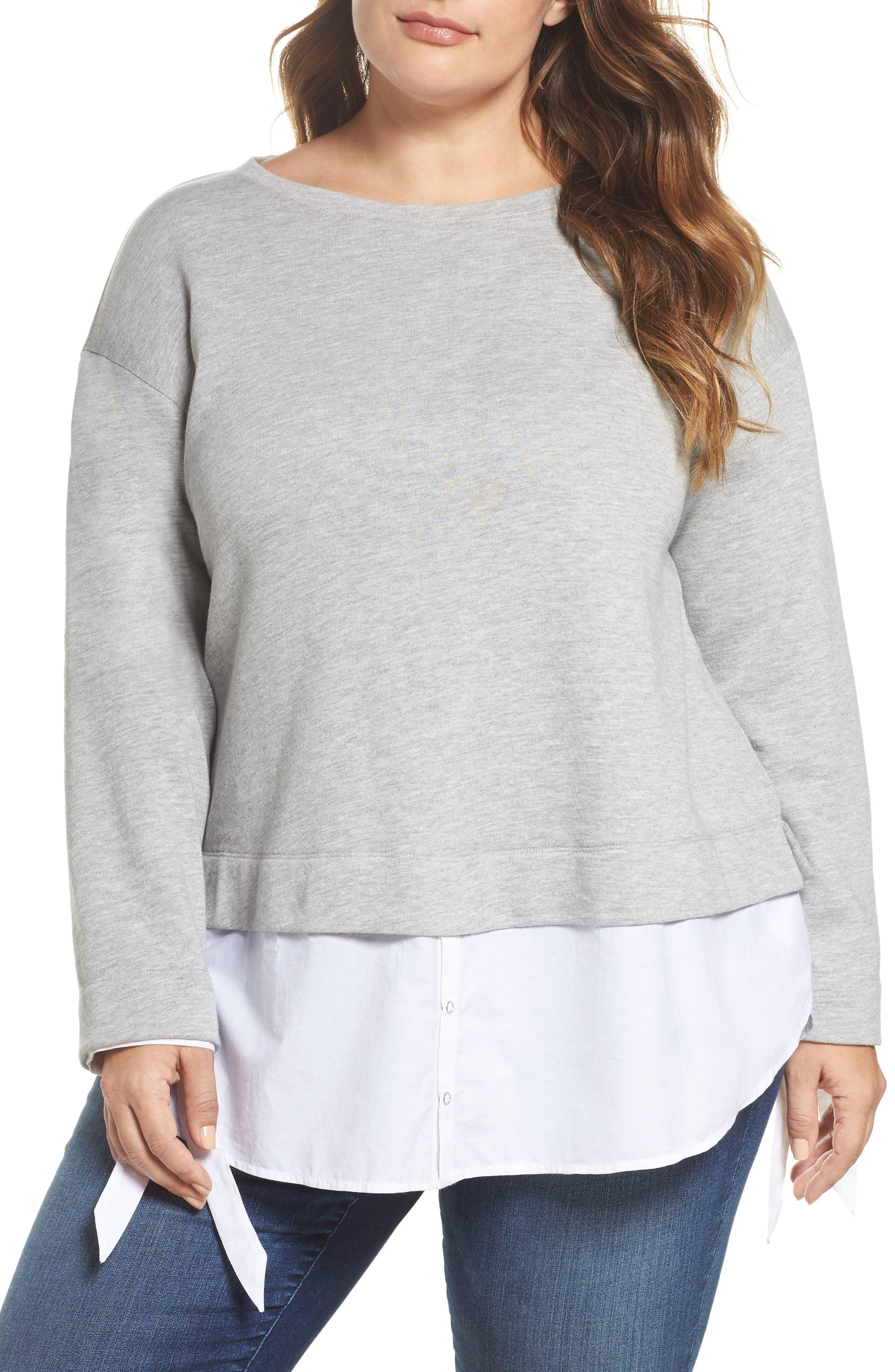 Caslon® Woven Hem Sweatshirt (Plus Size)