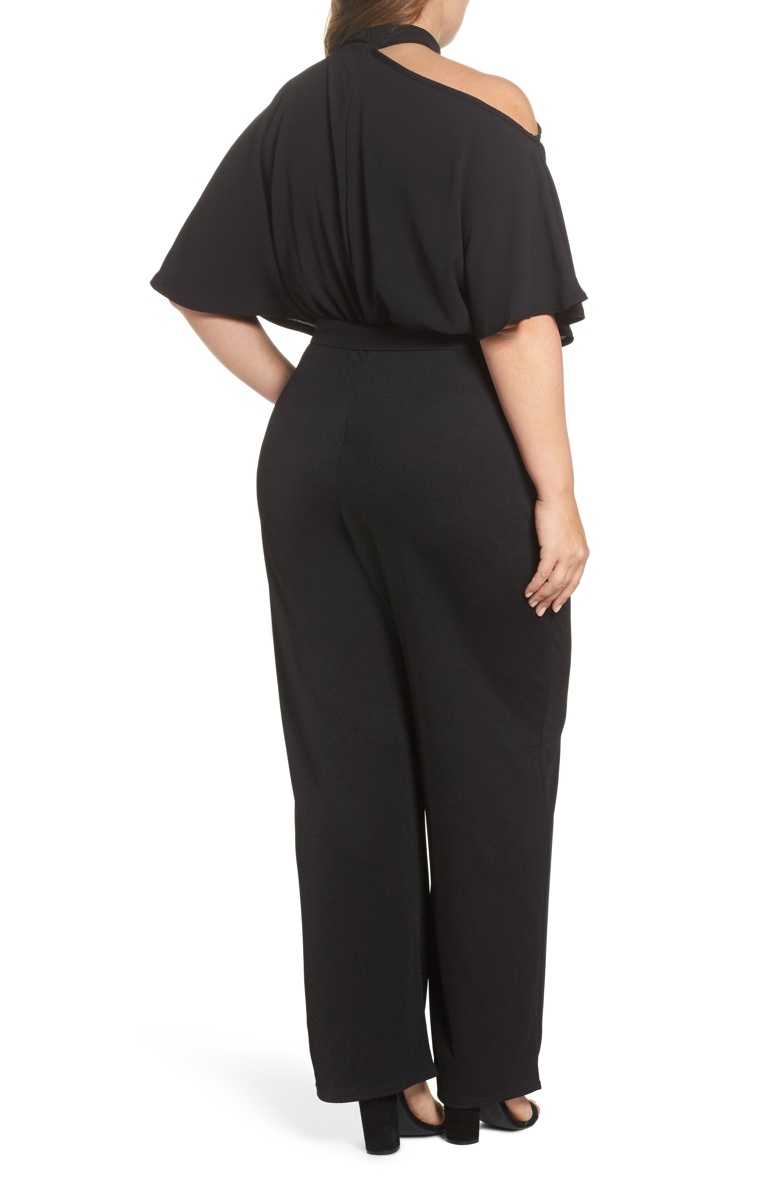 Cutout Shoulder Jumpsuit,                             Alternate thumbnail 3, color,                             Black