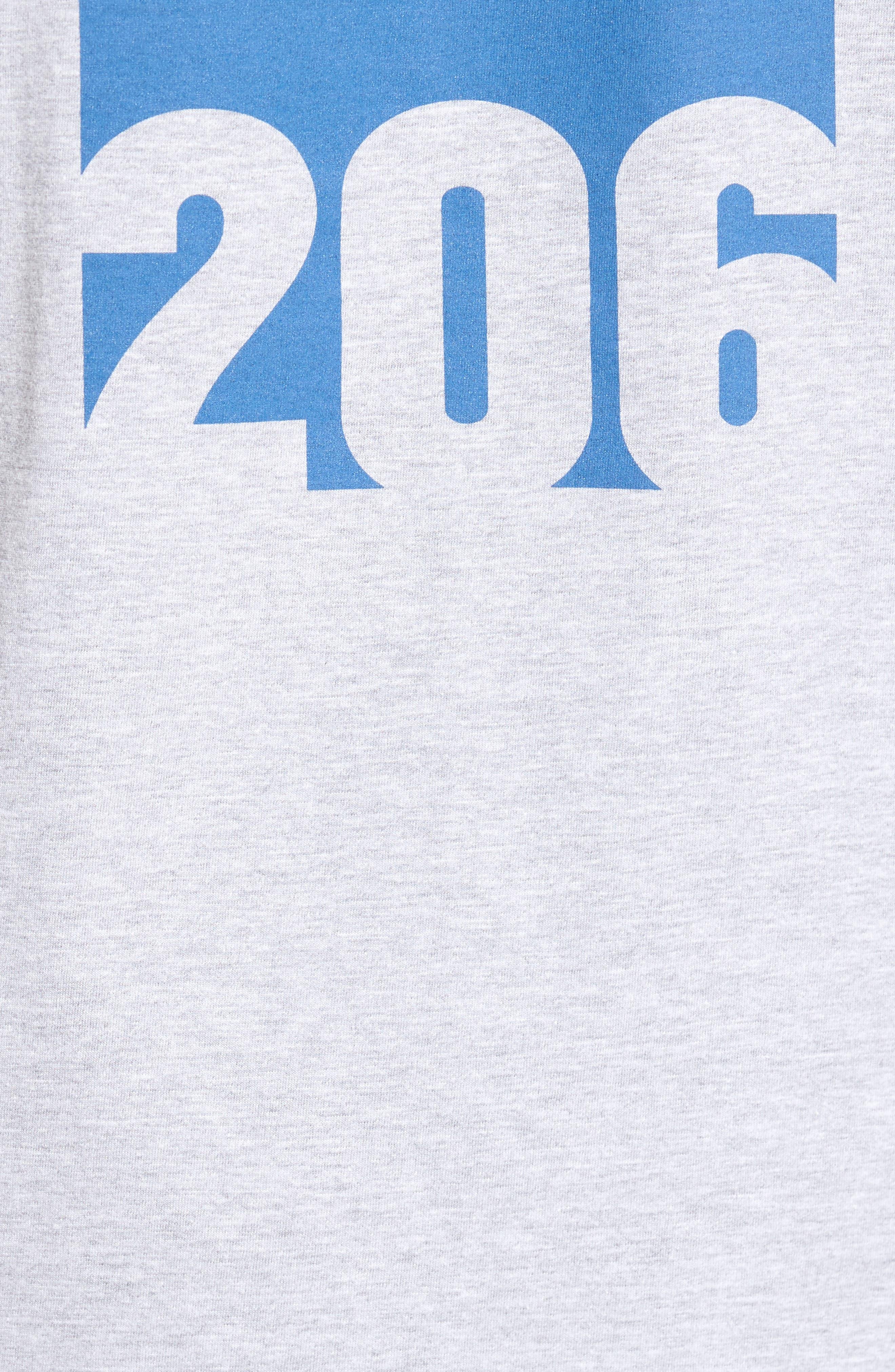 Area Code Skyline T-Shirt,                             Alternate thumbnail 5, color,                             Heather Grey