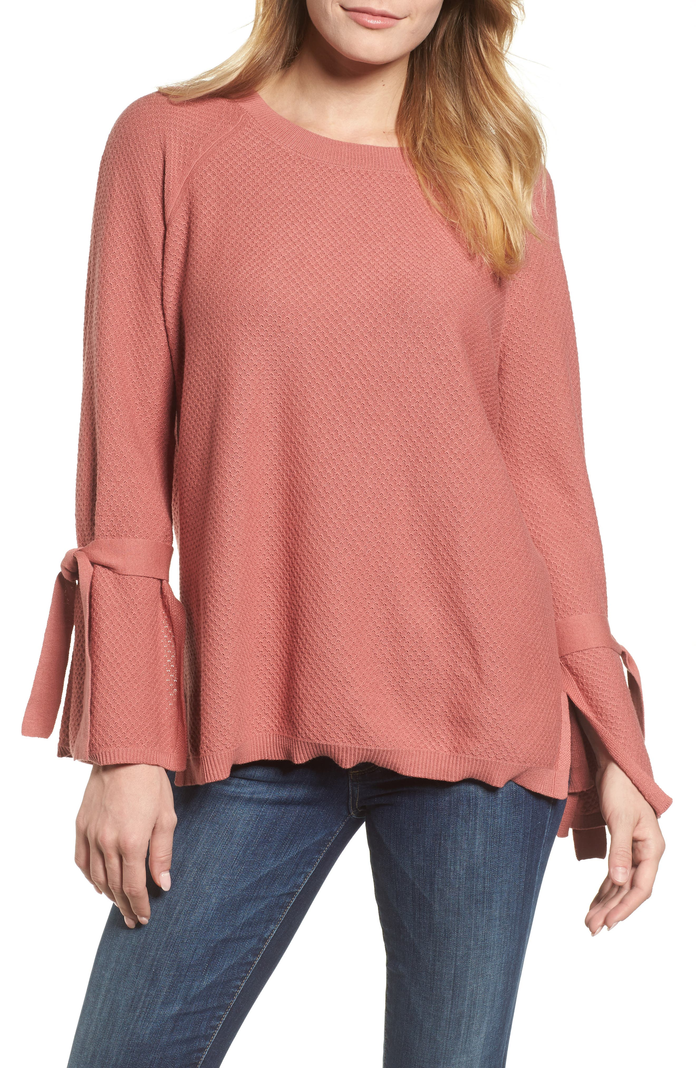 Two by Vince Camuto Texture Stitch Tie-Sleeve Top (Regular & Petite)