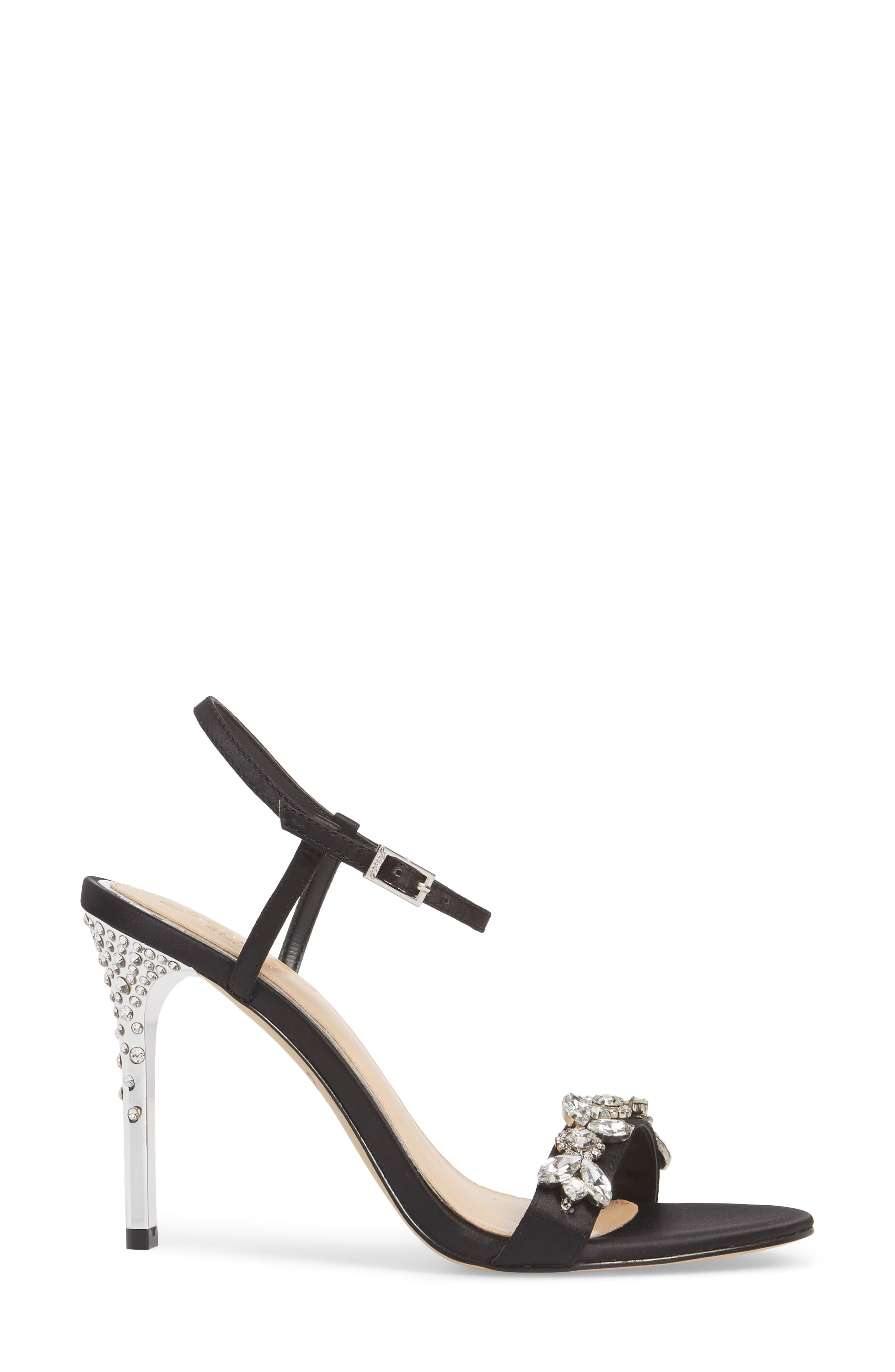 Tex Ankle Strap Sandal,                             Alternate thumbnail 3, color,                             Black Satin