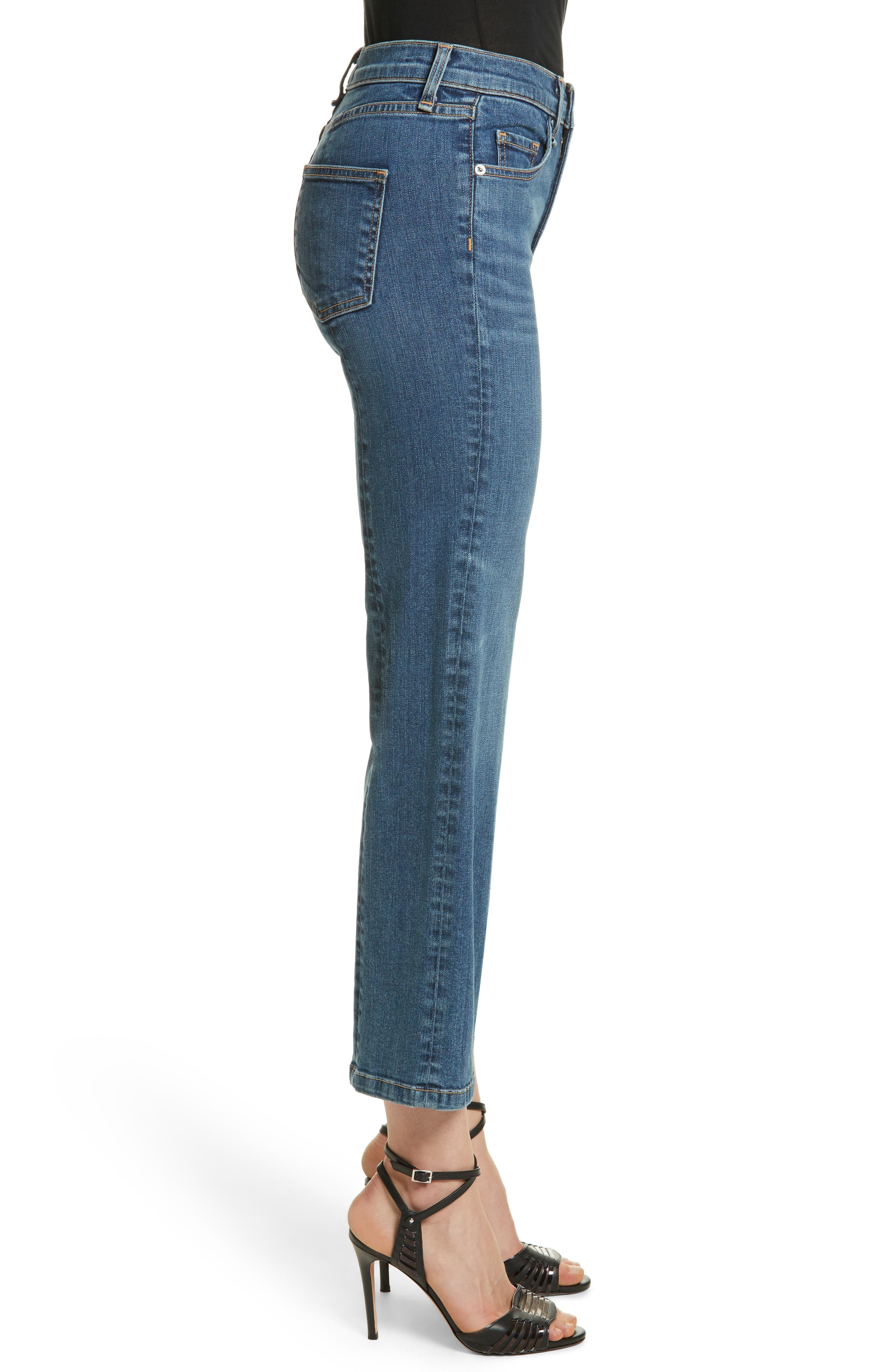 Jackie Crop Straight Leg Jeans,                             Alternate thumbnail 3, color,                             Oxford
