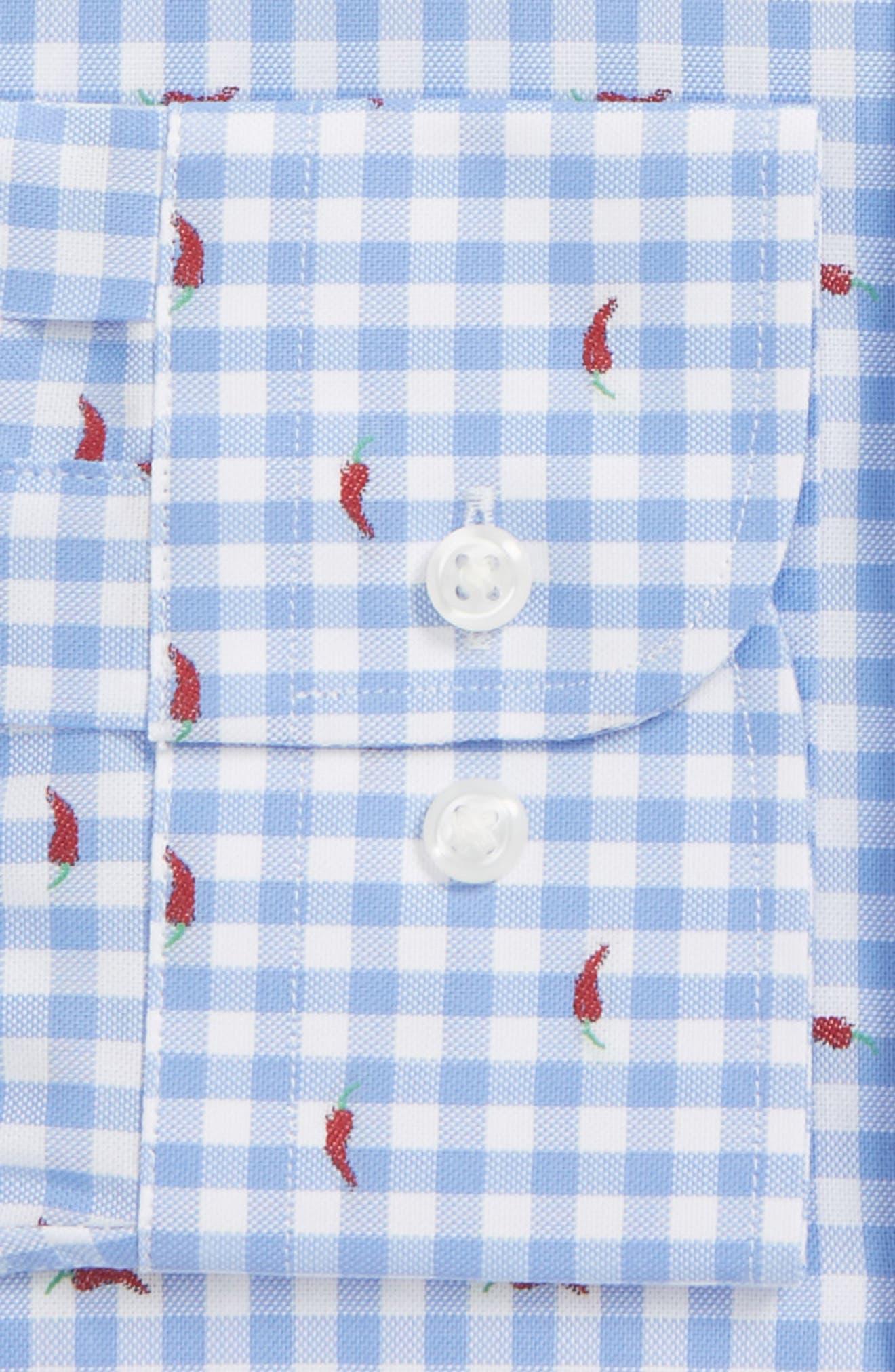 Trim Fit Gingham Chili Pepper Dress Shirt,                             Alternate thumbnail 5, color,                             Blue Hydrangea