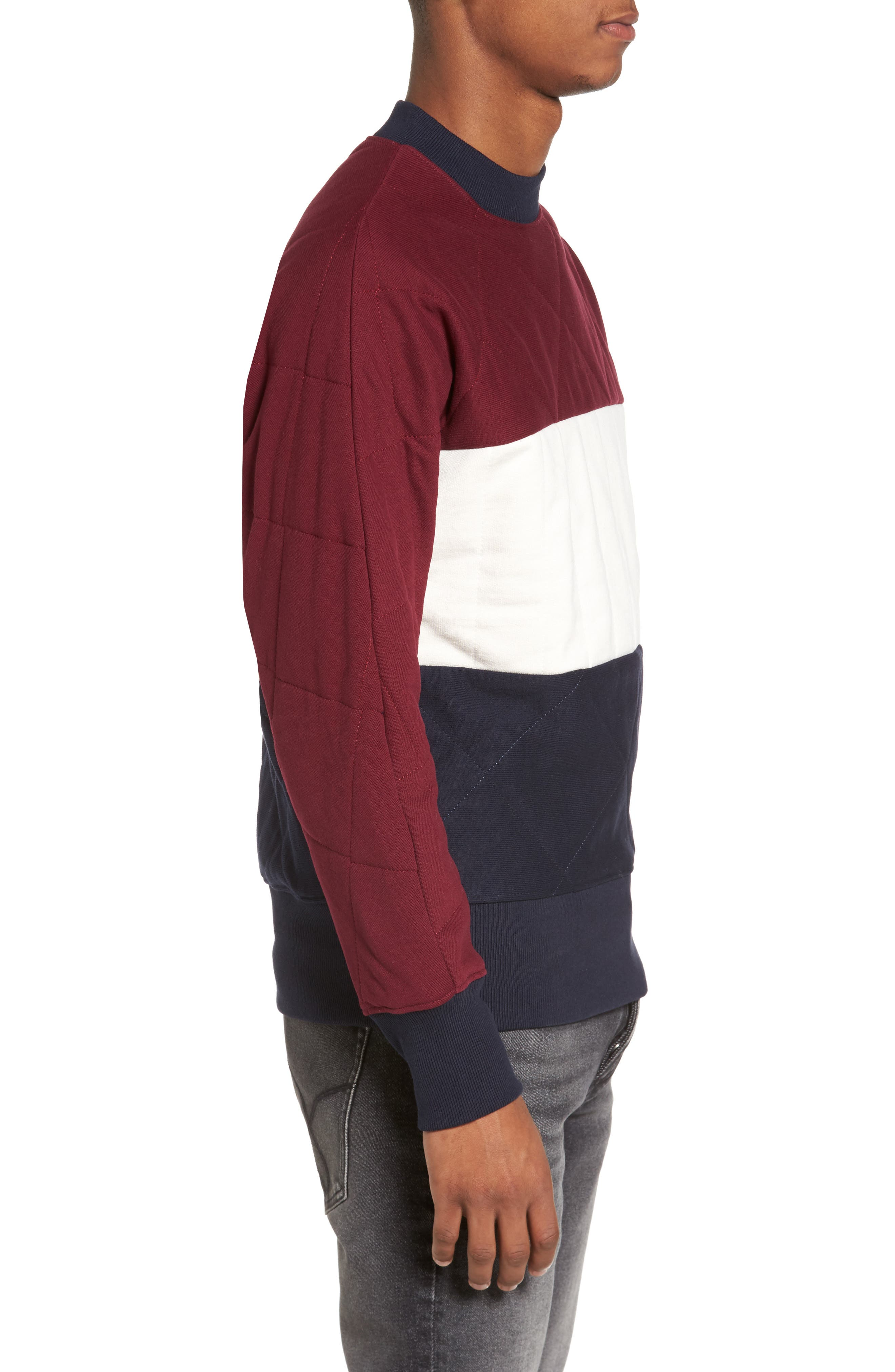Quilted Colorblock Sweatshirt,                             Alternate thumbnail 3, color,                             Burgundy
