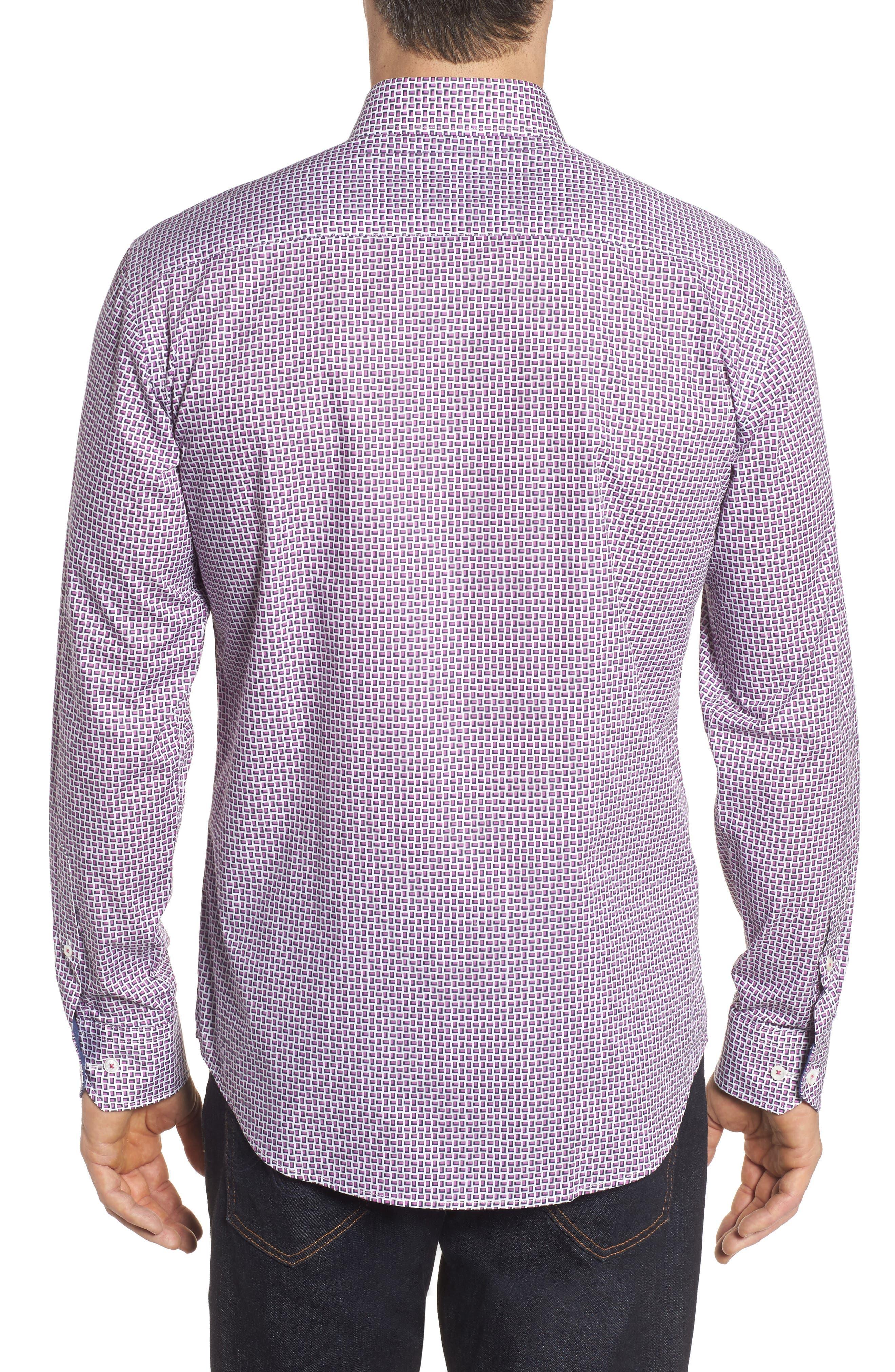 Shaped Fit Print Sport Shirt,                             Alternate thumbnail 2, color,                             Pink
