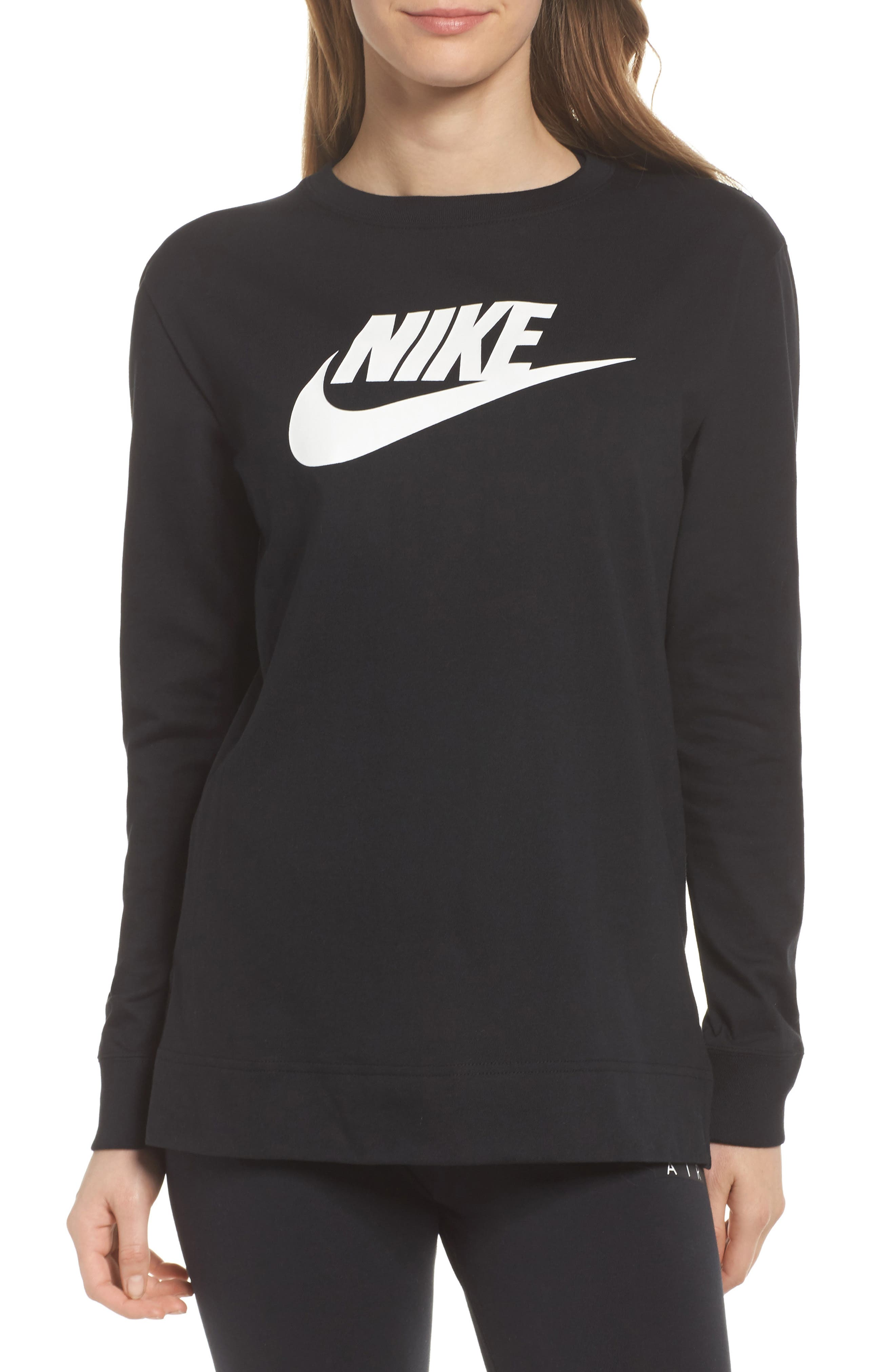 Sportswear HBR Women's Long Sleeve Tee,                             Main thumbnail 1, color,                             Black/ White