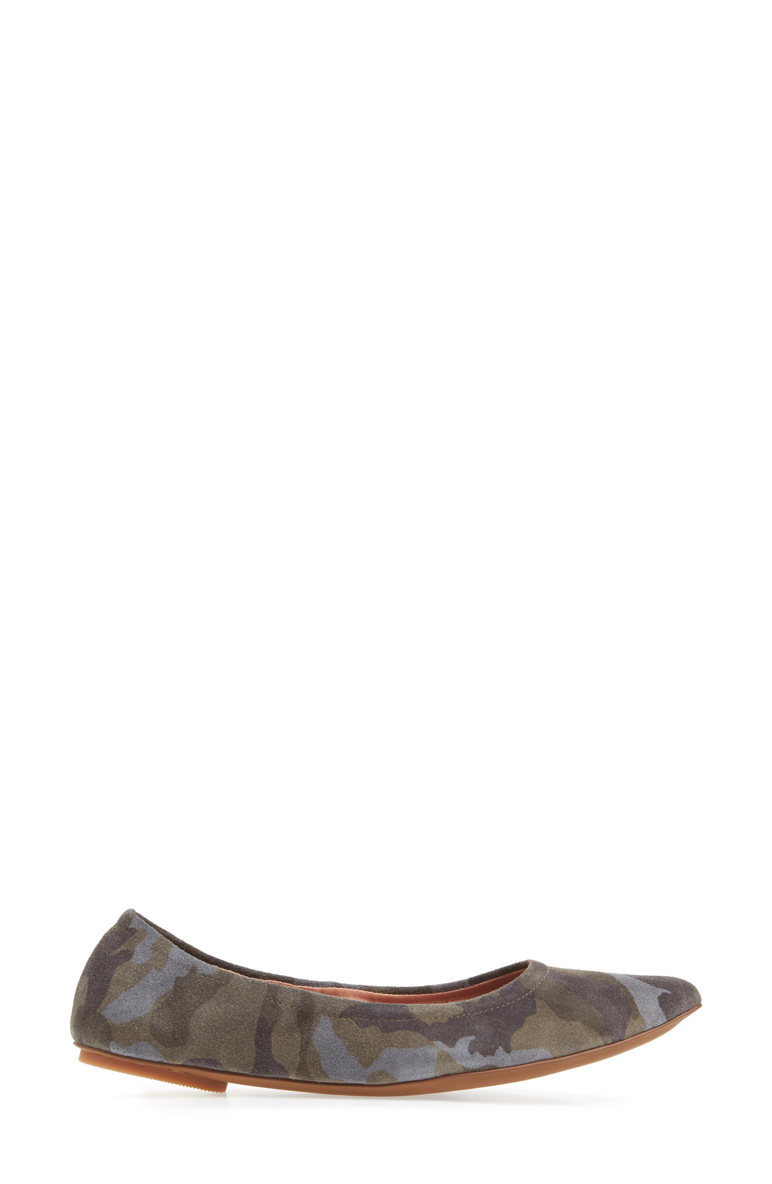 Nico Pointy Toe Flat,                             Alternate thumbnail 3, color,                             Camouflage Suede