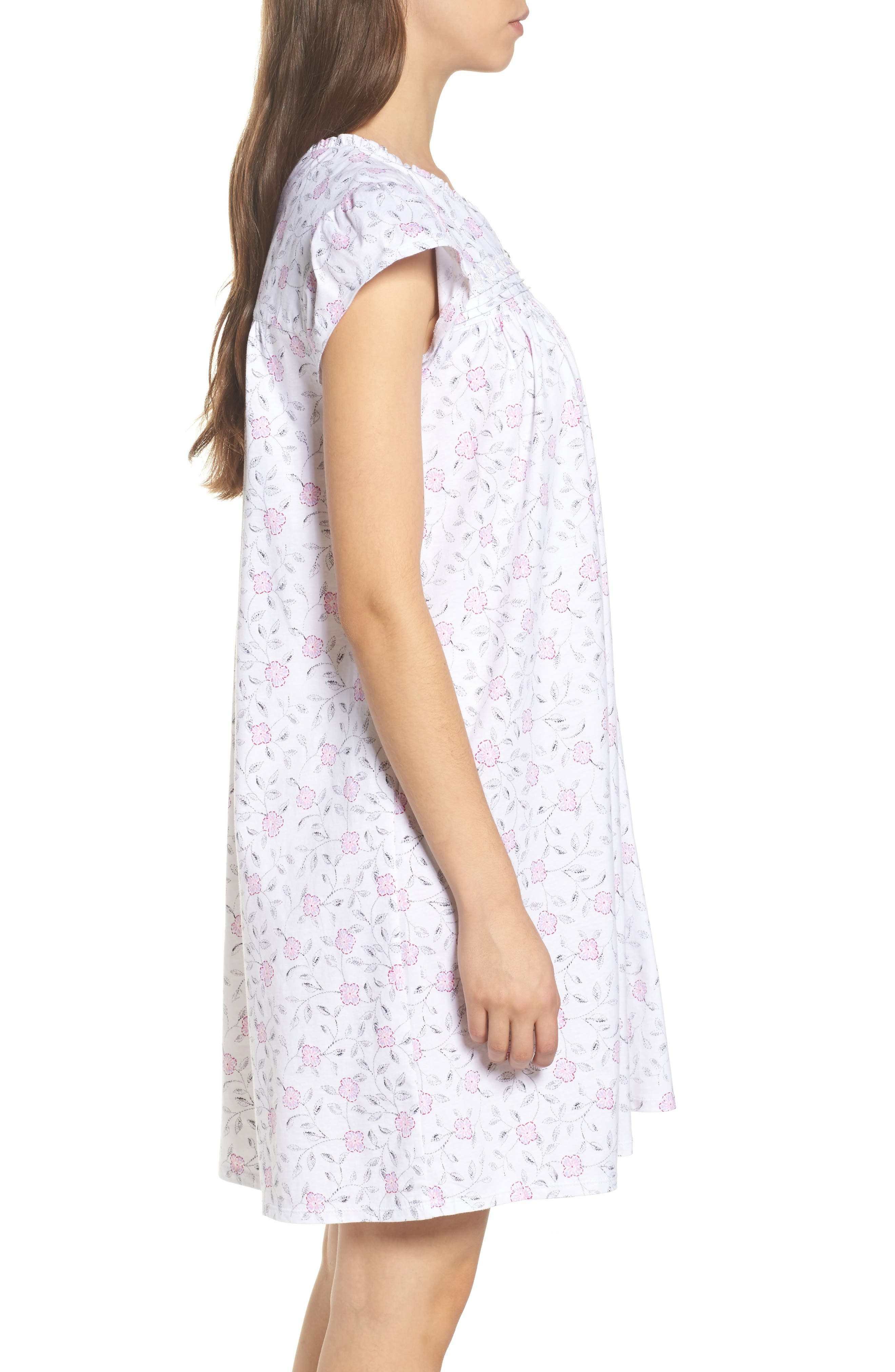 Cotton Jersey Nightgown,                             Alternate thumbnail 3, color,                             White Floral Scroll