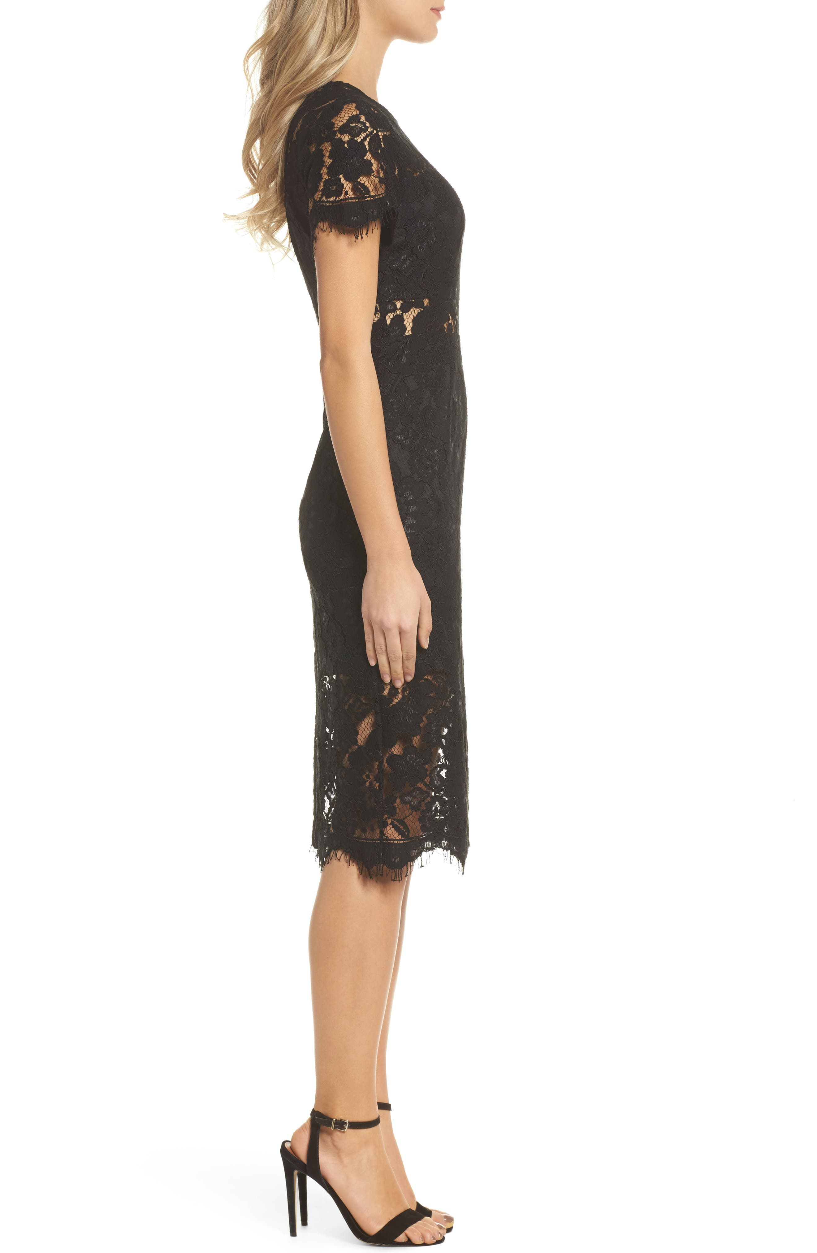 Lace Midi Dress,                             Alternate thumbnail 3, color,                             Black
