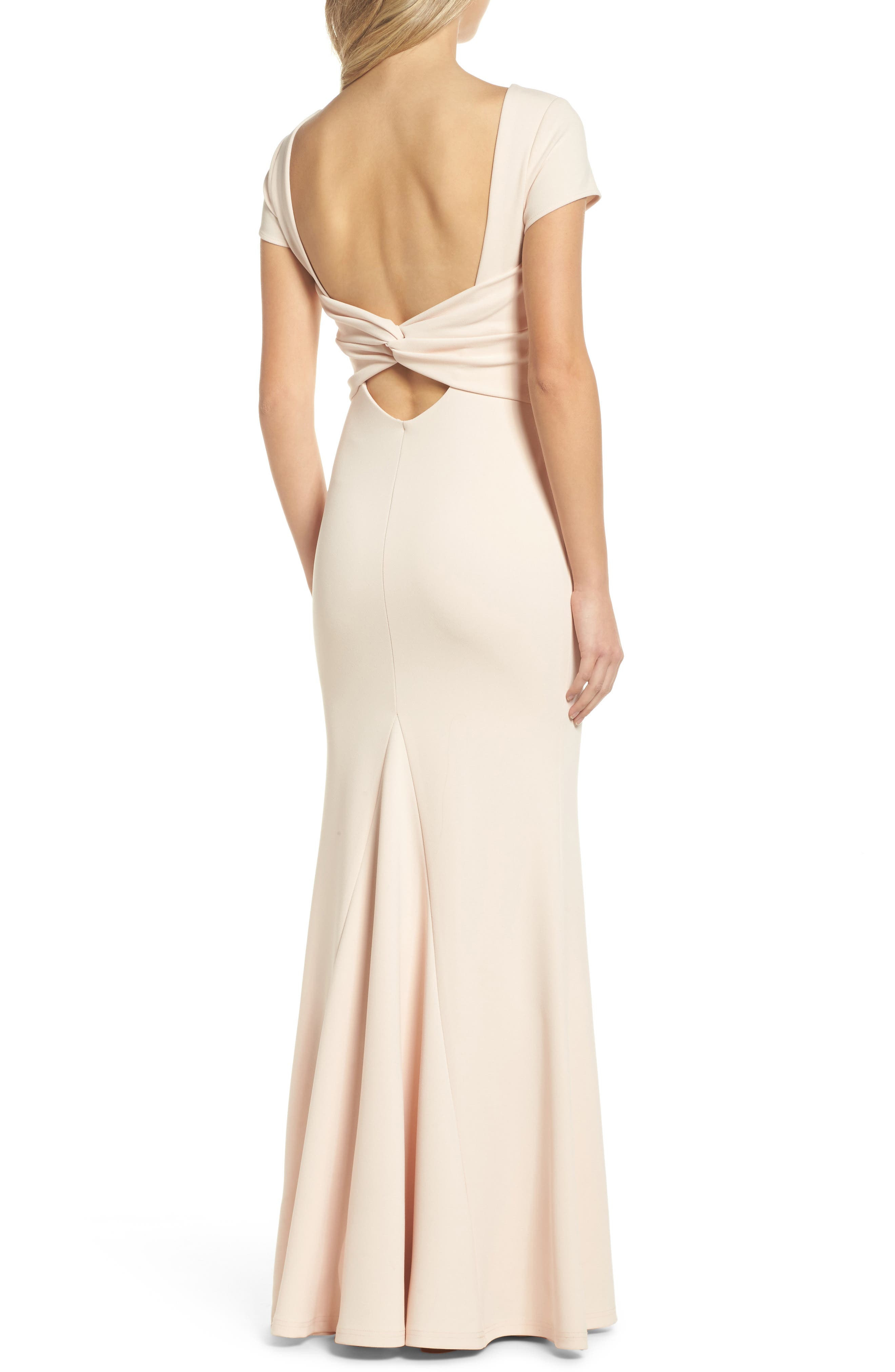 Twist Back Mermaid Gown,                             Alternate thumbnail 2, color,                             Blush