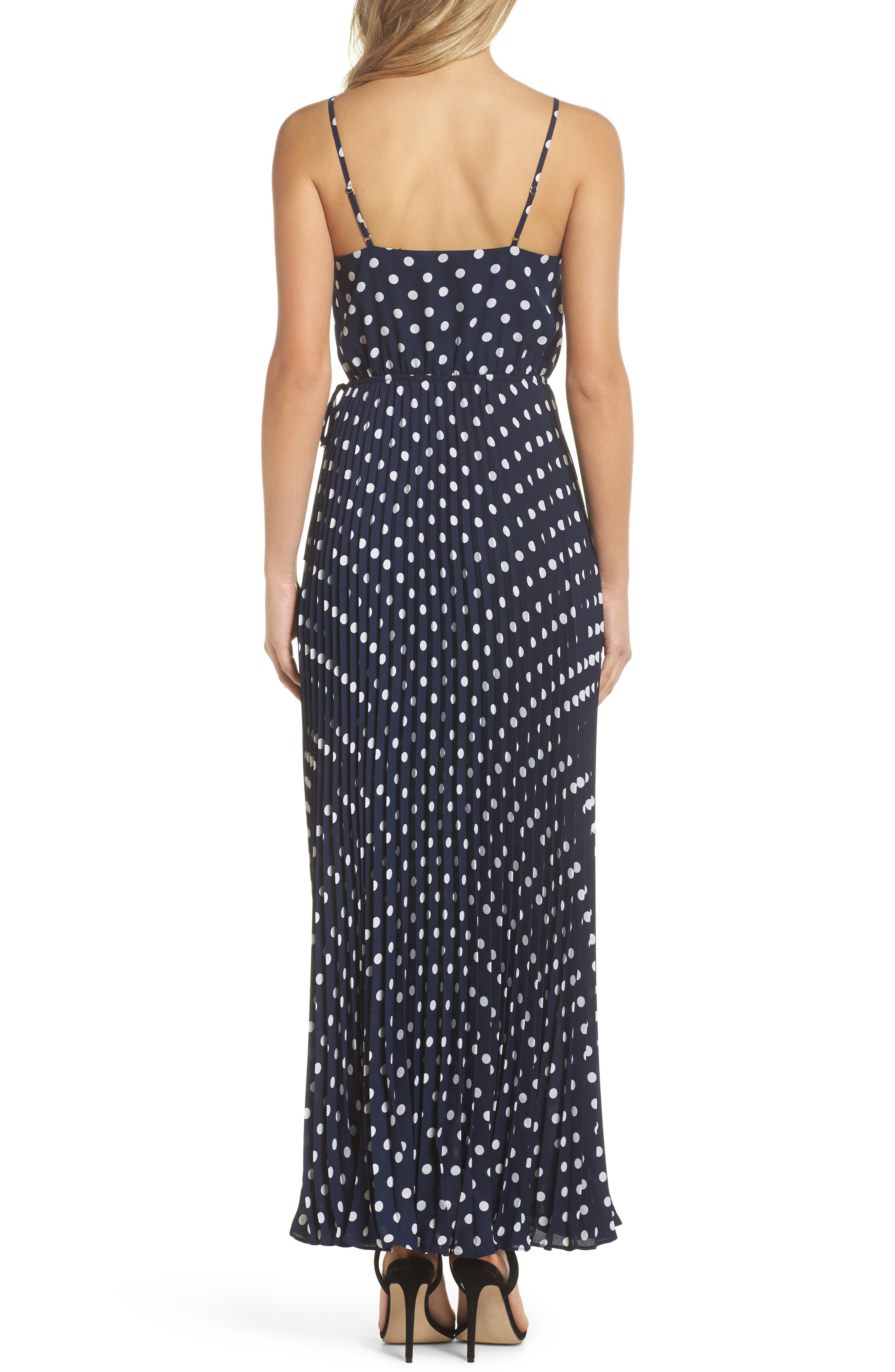 Lily Pond Maxi Dress,                             Alternate thumbnail 3, color,                             Navy Polka Dot