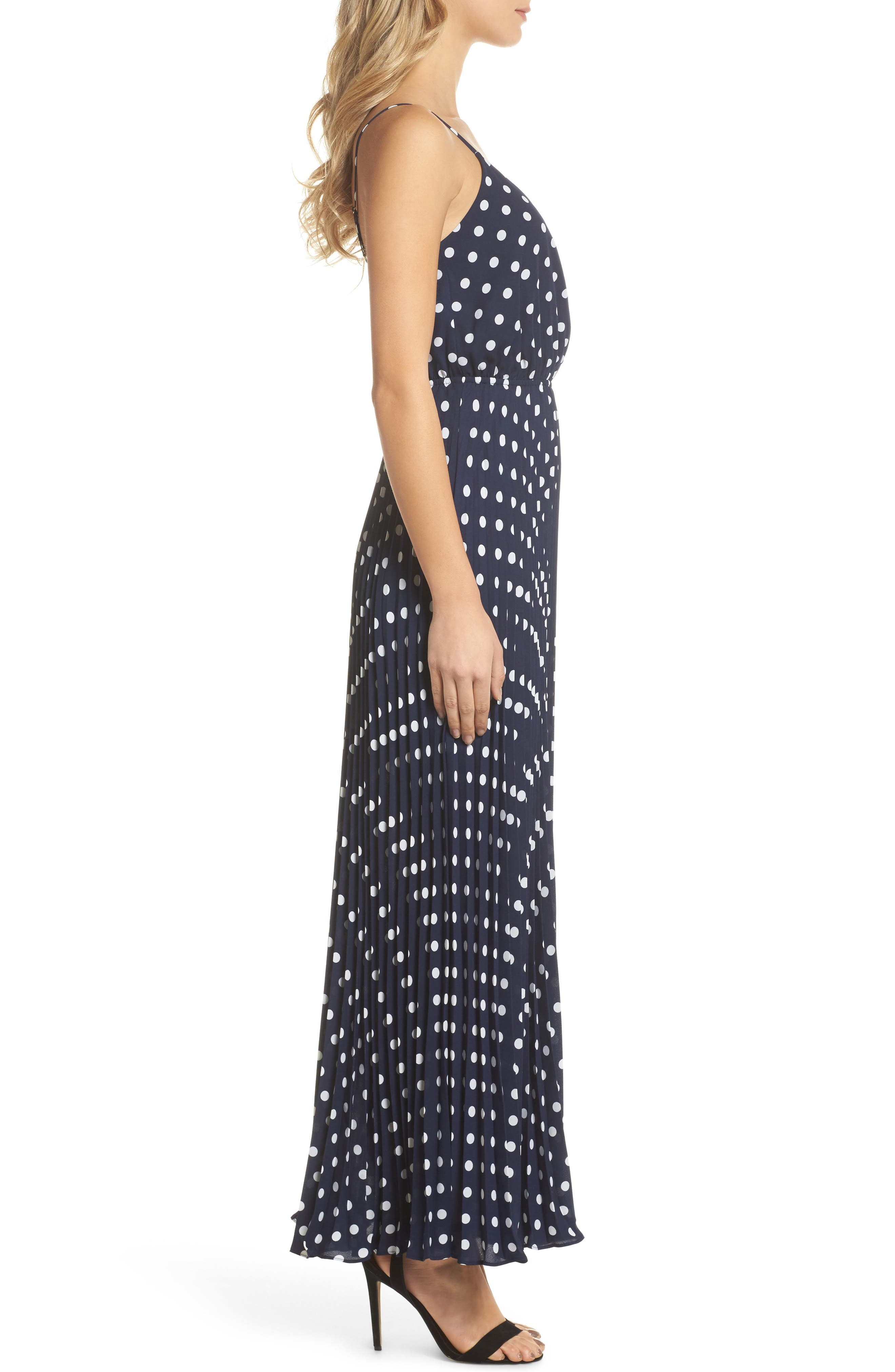 Lily Pond Maxi Dress,                             Alternate thumbnail 4, color,                             Navy Polka Dot