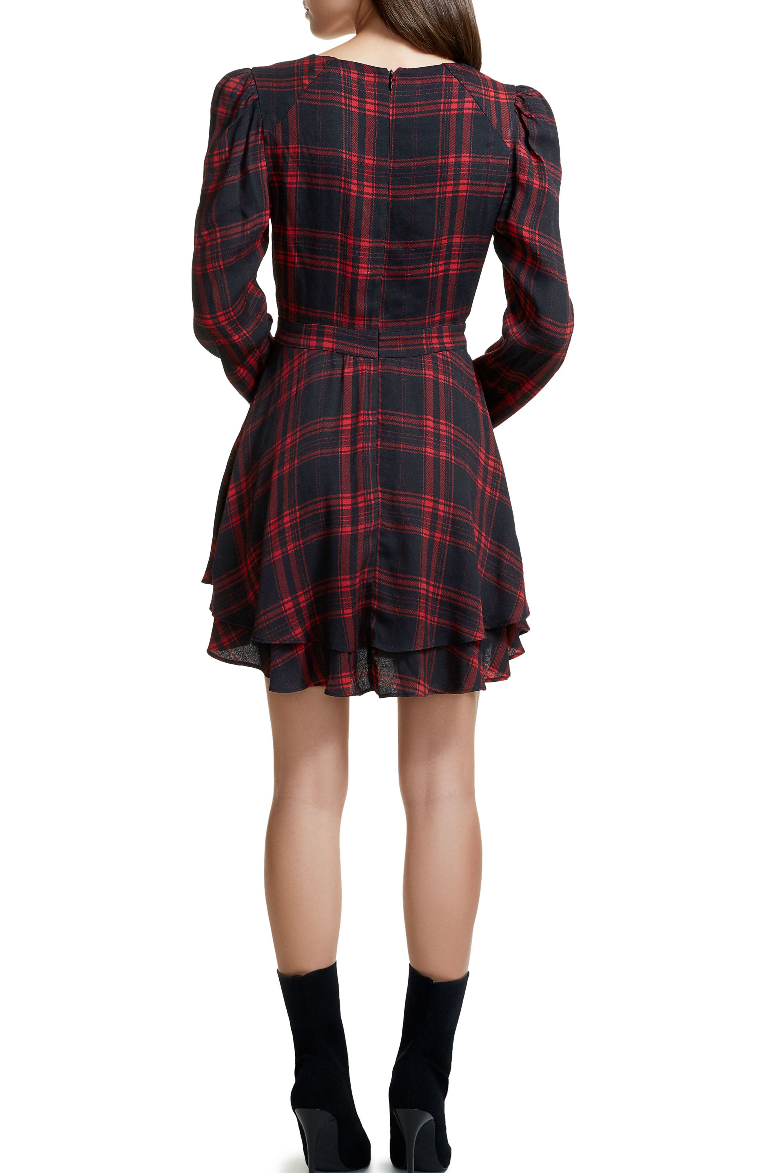 Avery Strappy Babydoll Dress,                             Alternate thumbnail 2, color,                             Plaid