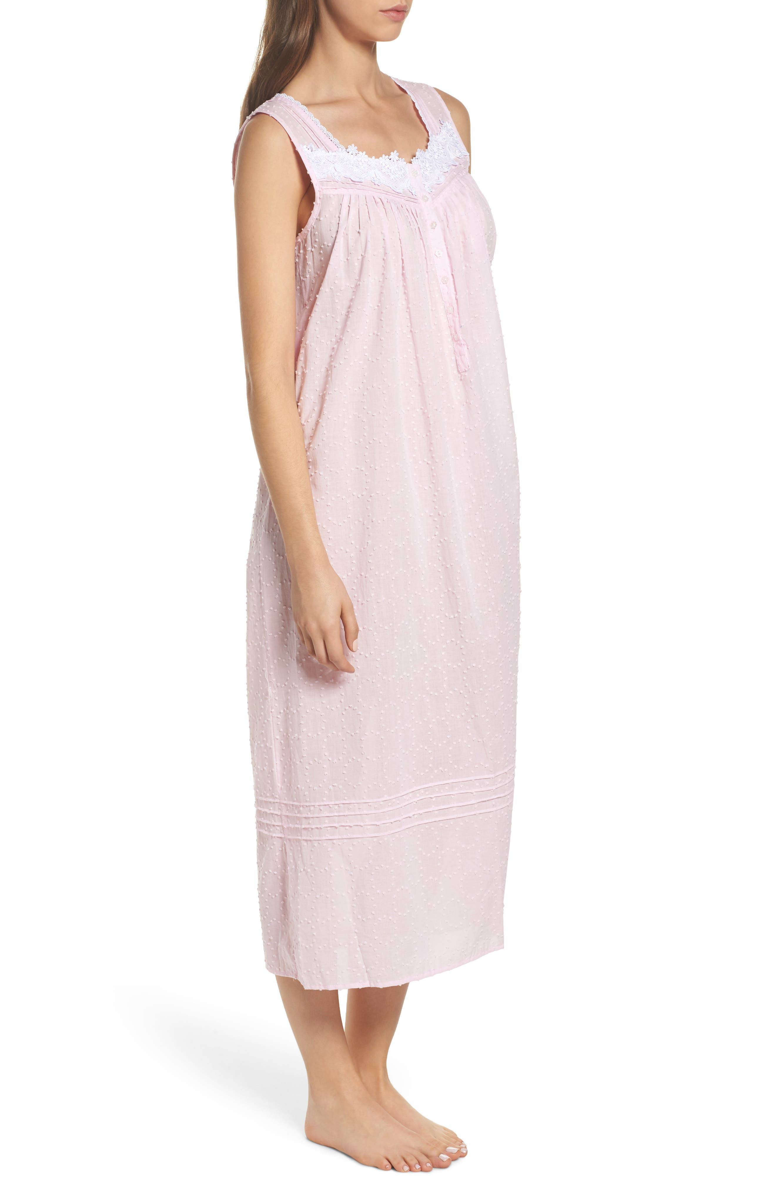 Swiss Dot Nightgown,                             Alternate thumbnail 3, color,                             Solid Rose Circle Clip Dot