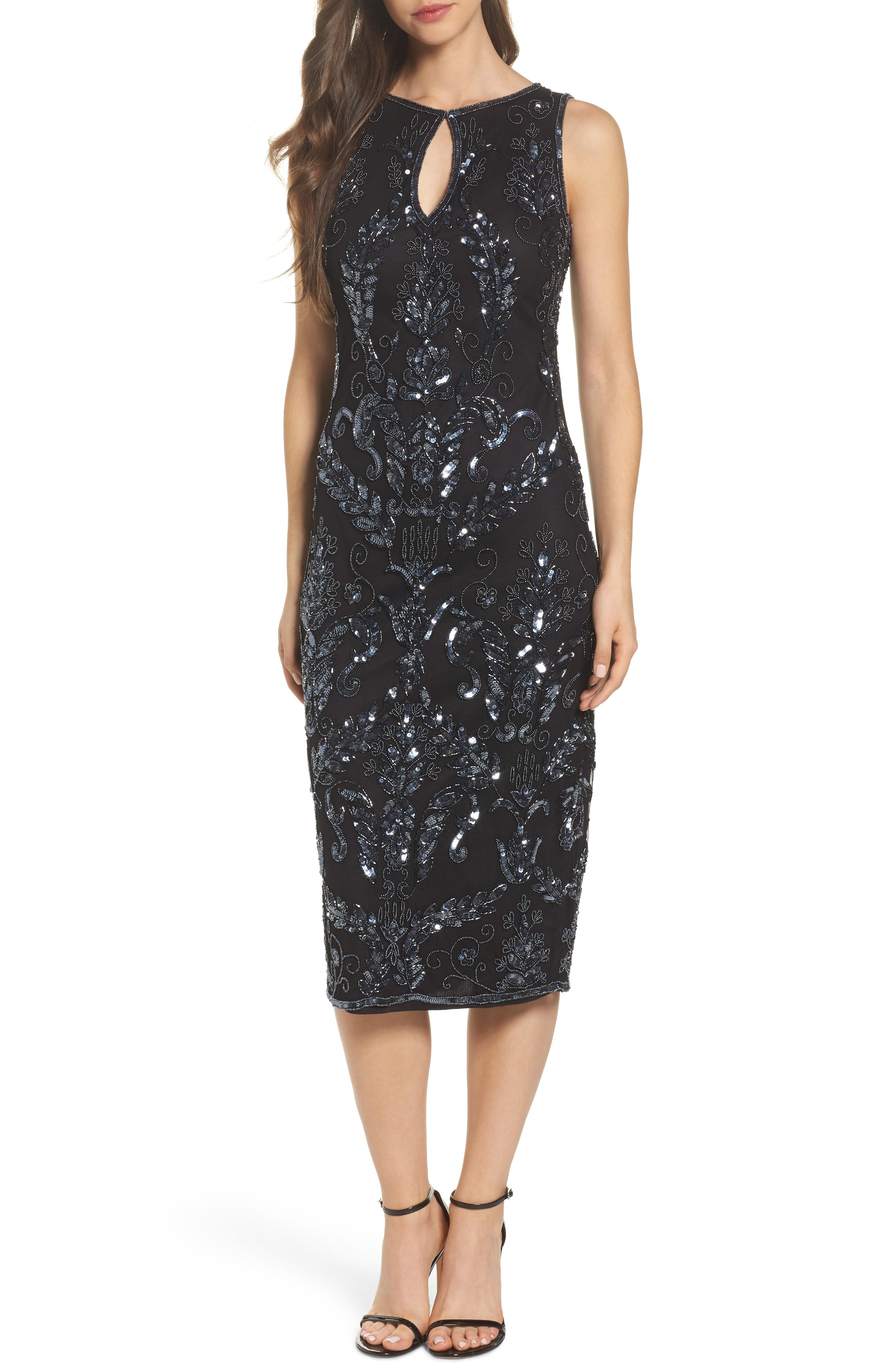 Beaded Pencil Dress,                         Main,                         color, Black/ Gunmetal