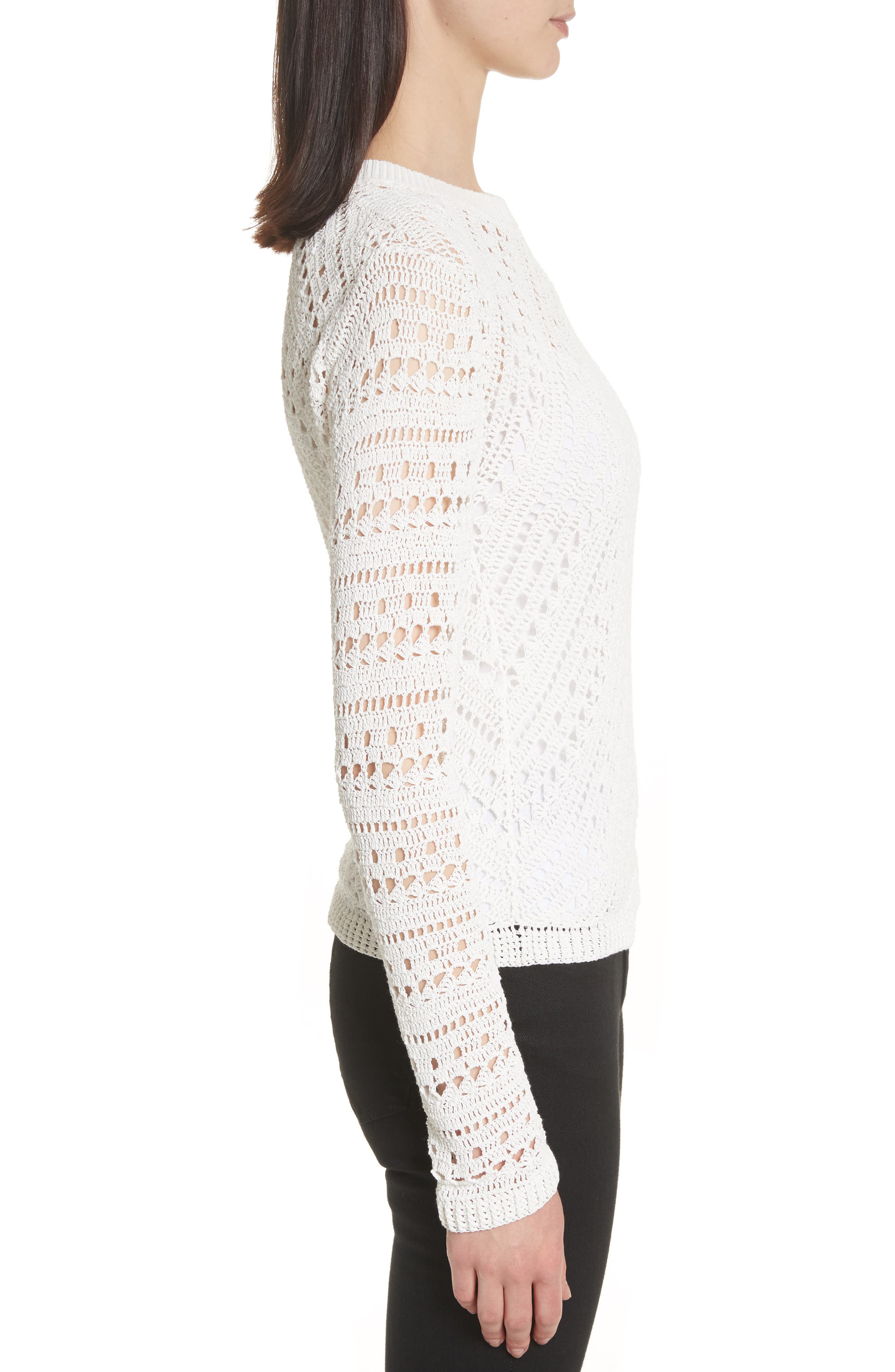 Crewneck Crochet Sweater,                             Alternate thumbnail 3, color,                             Ivory