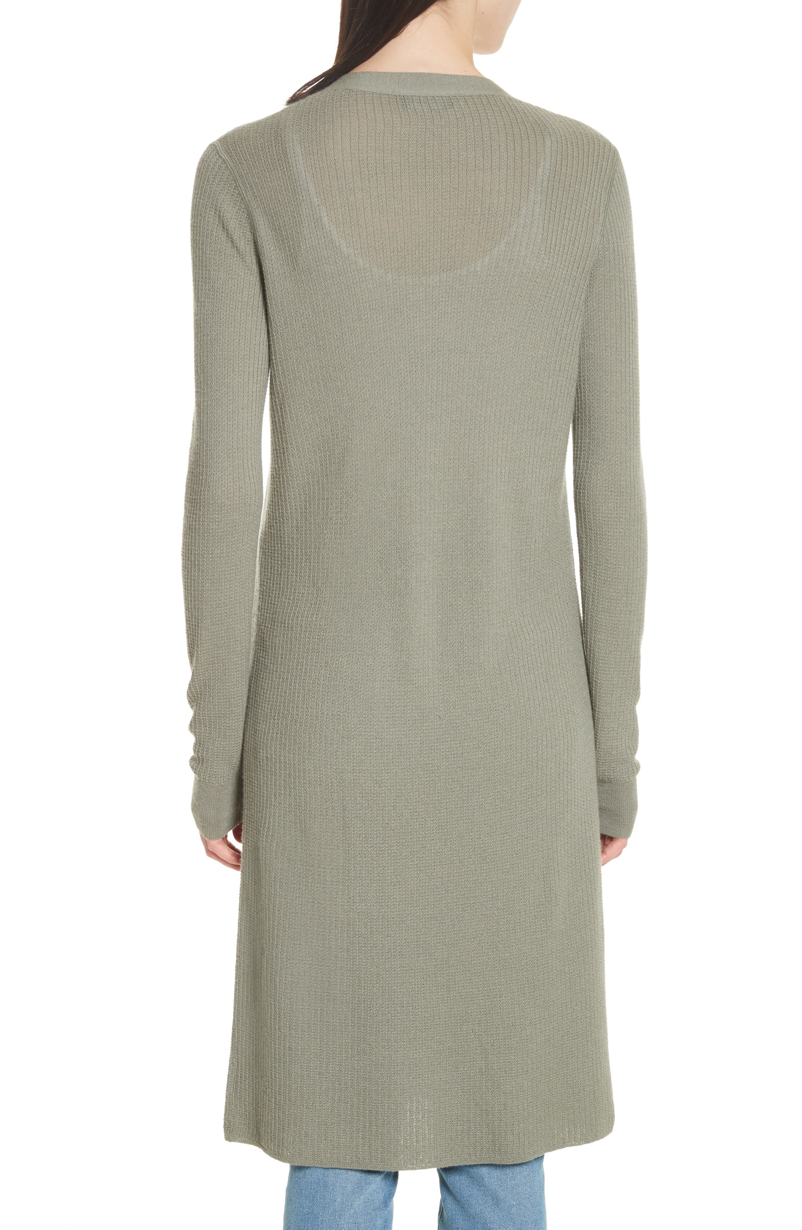 Torina Long Cashmere Cardigan,                             Alternate thumbnail 2, color,                             Faded Army