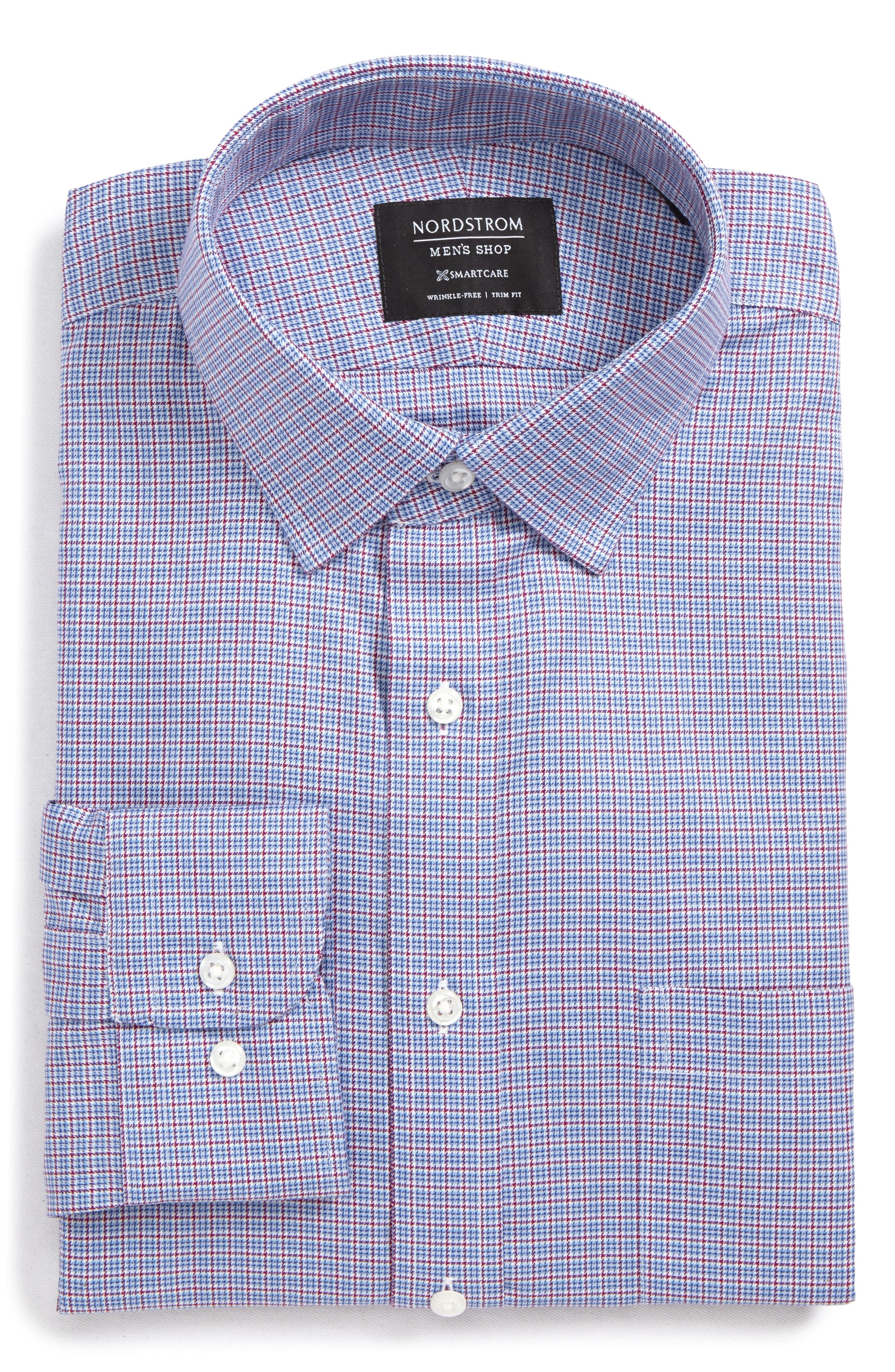 Smartcare<sup>™</sup> Trim Fit Check Dress Shirt,                             Alternate thumbnail 6, color,                             Red Ruby