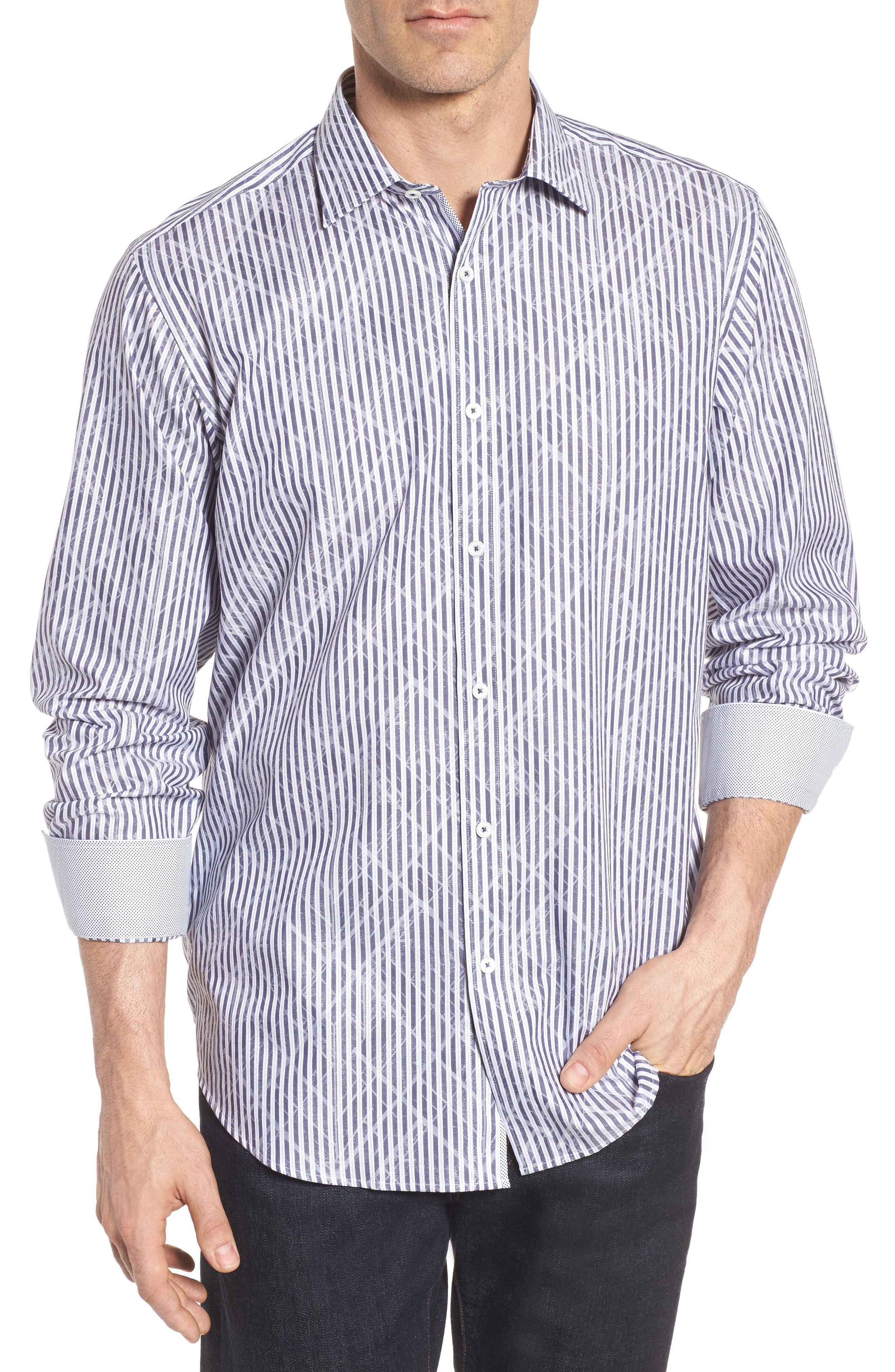 Classic Fit Stripe Sport Shirt,                         Main,                         color, Midnight