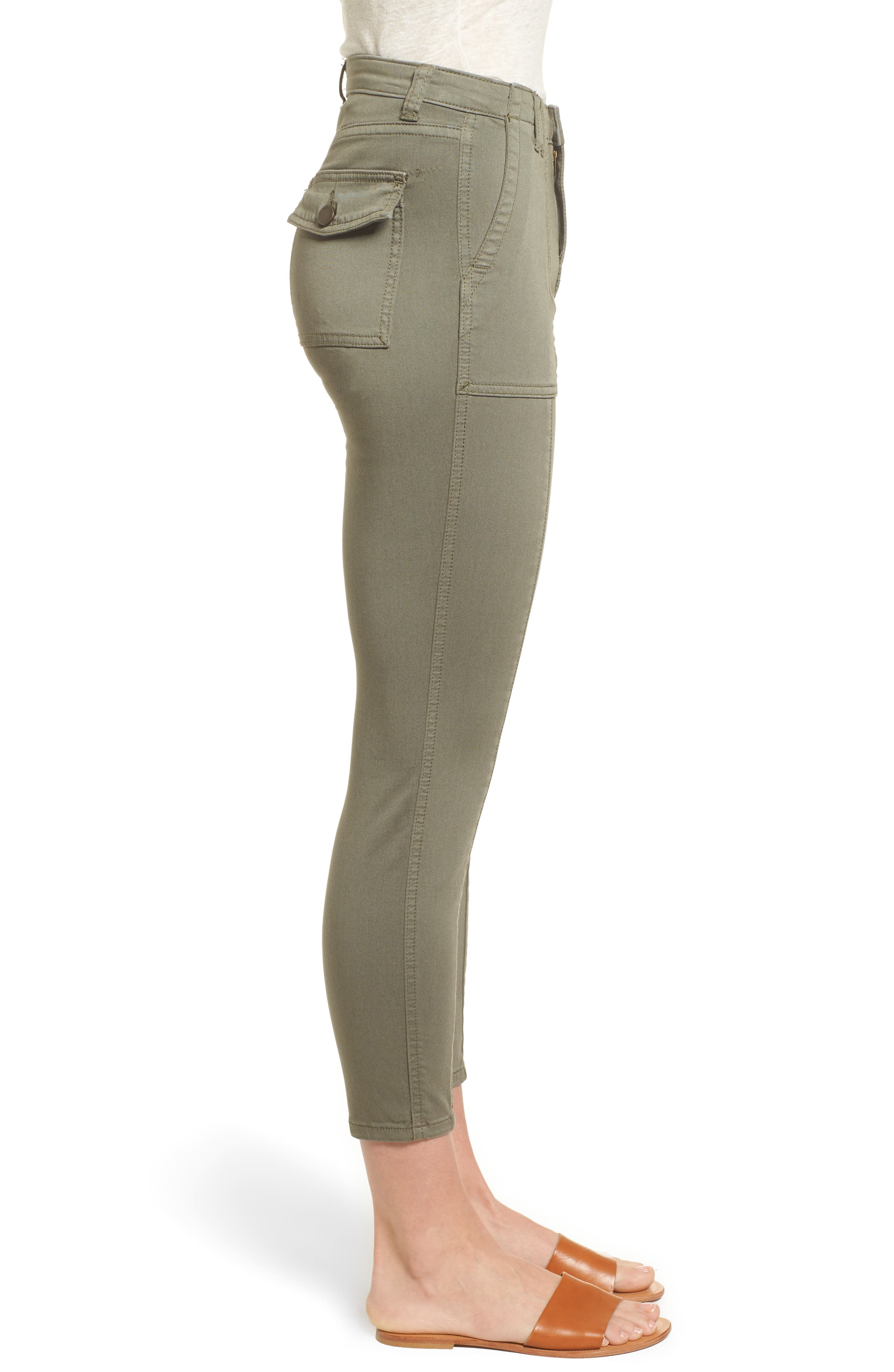 Crop Utility Pants,                             Alternate thumbnail 3, color,                             Olive