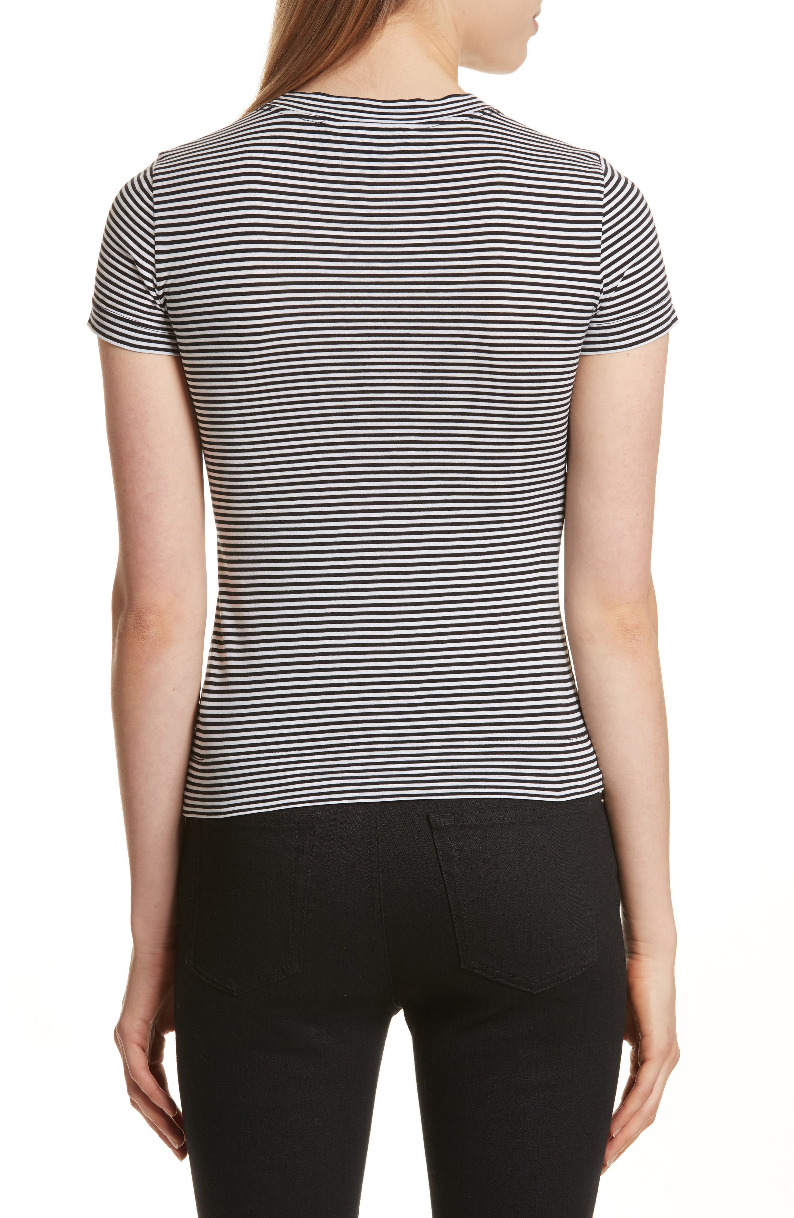 Apex Stripe Crop Tee,                             Alternate thumbnail 2, color,                             Black/ White