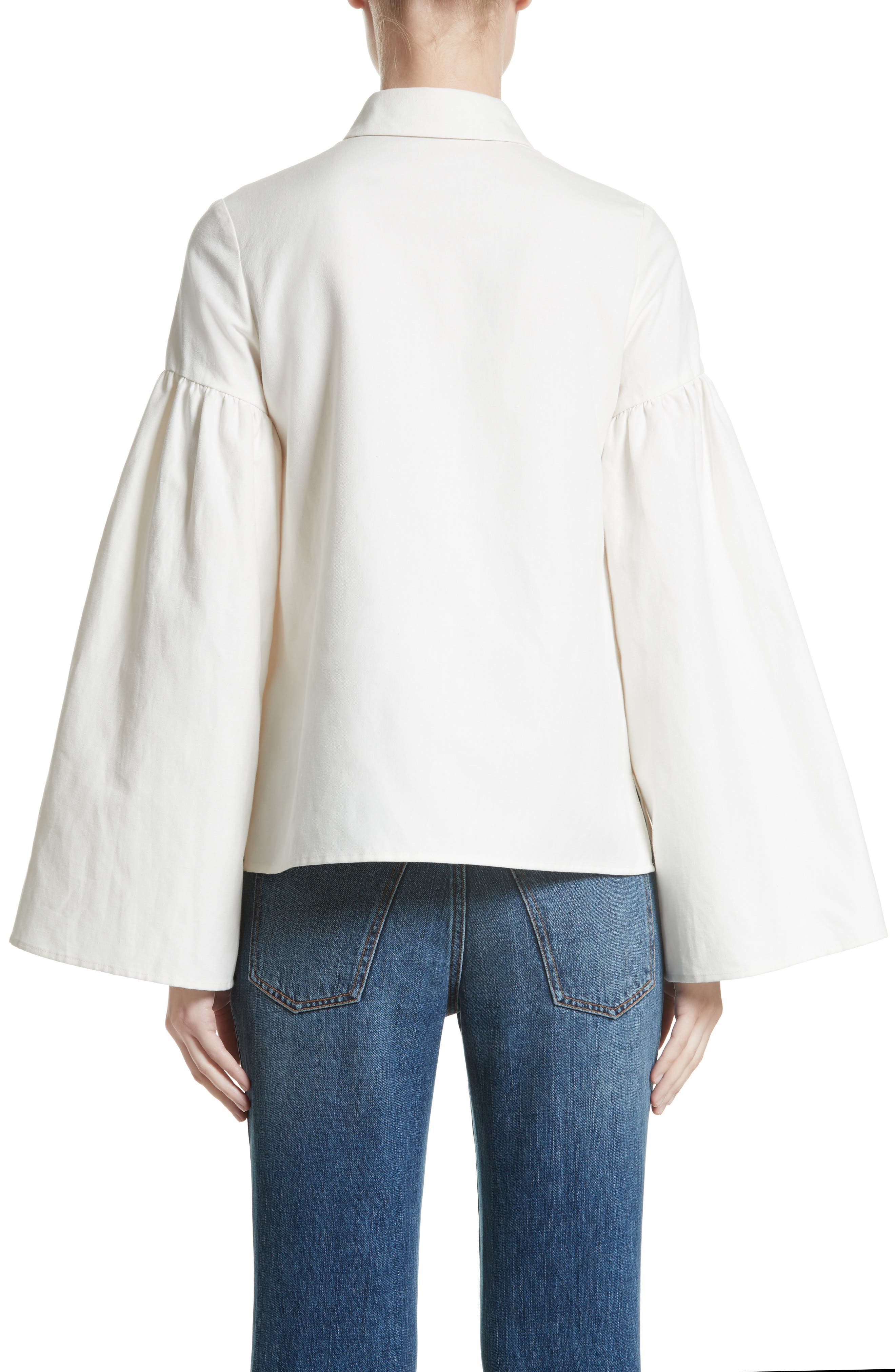 Linen & Cotton Puff Sleeve Top,                             Alternate thumbnail 2, color,                             Ivory