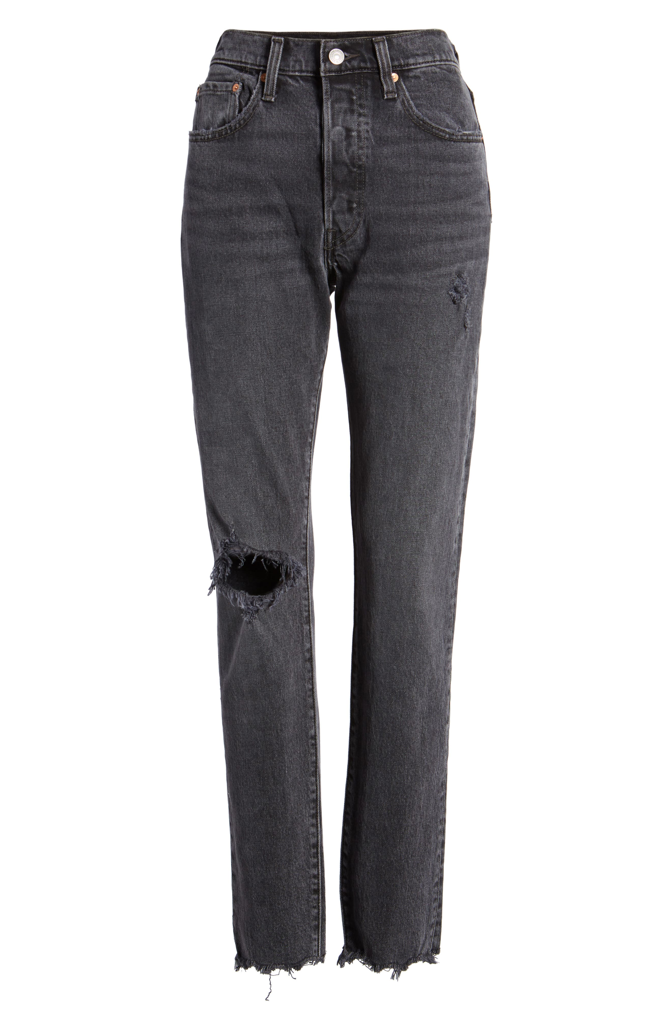501<sup>®</sup> High Waist Ripped Skinny Jeans,                             Alternate thumbnail 7, color,                             Well Worn Black