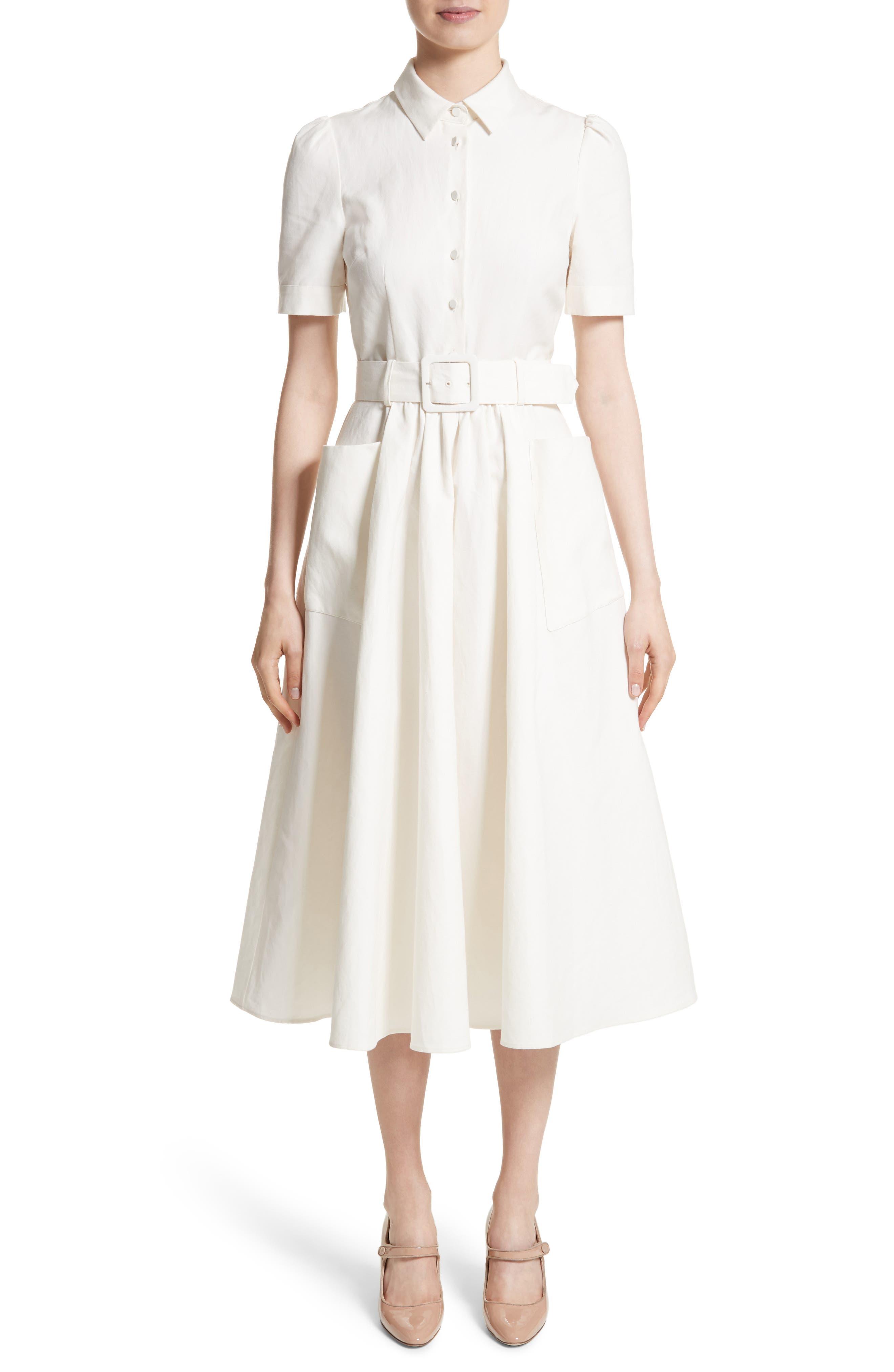 Linen & Cotton Shirtdress,                         Main,                         color, Ivory