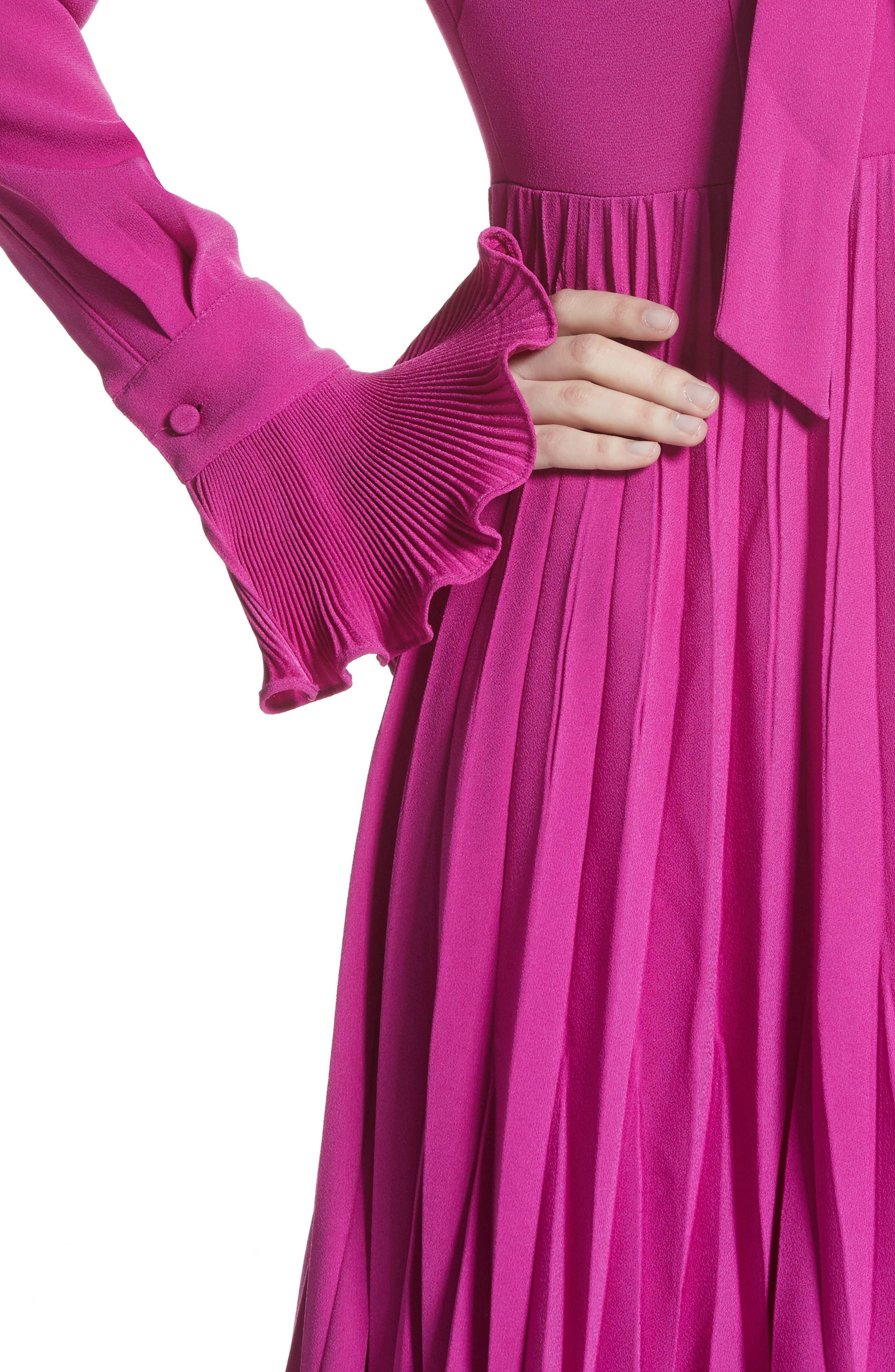 Ruffle & Pleated Midi Dress,                             Alternate thumbnail 6, color,                             Magenta