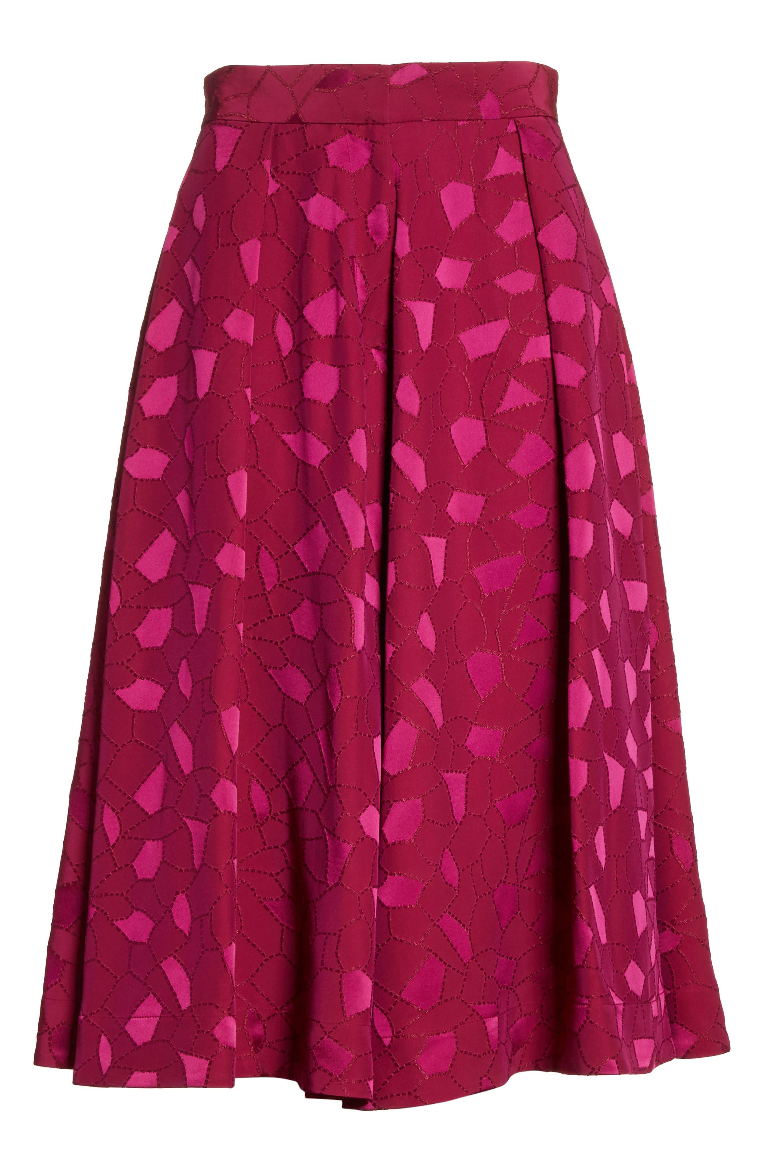 Mosaic Jacquard Midi Skirt,                             Alternate thumbnail 7, color,                             Pink
