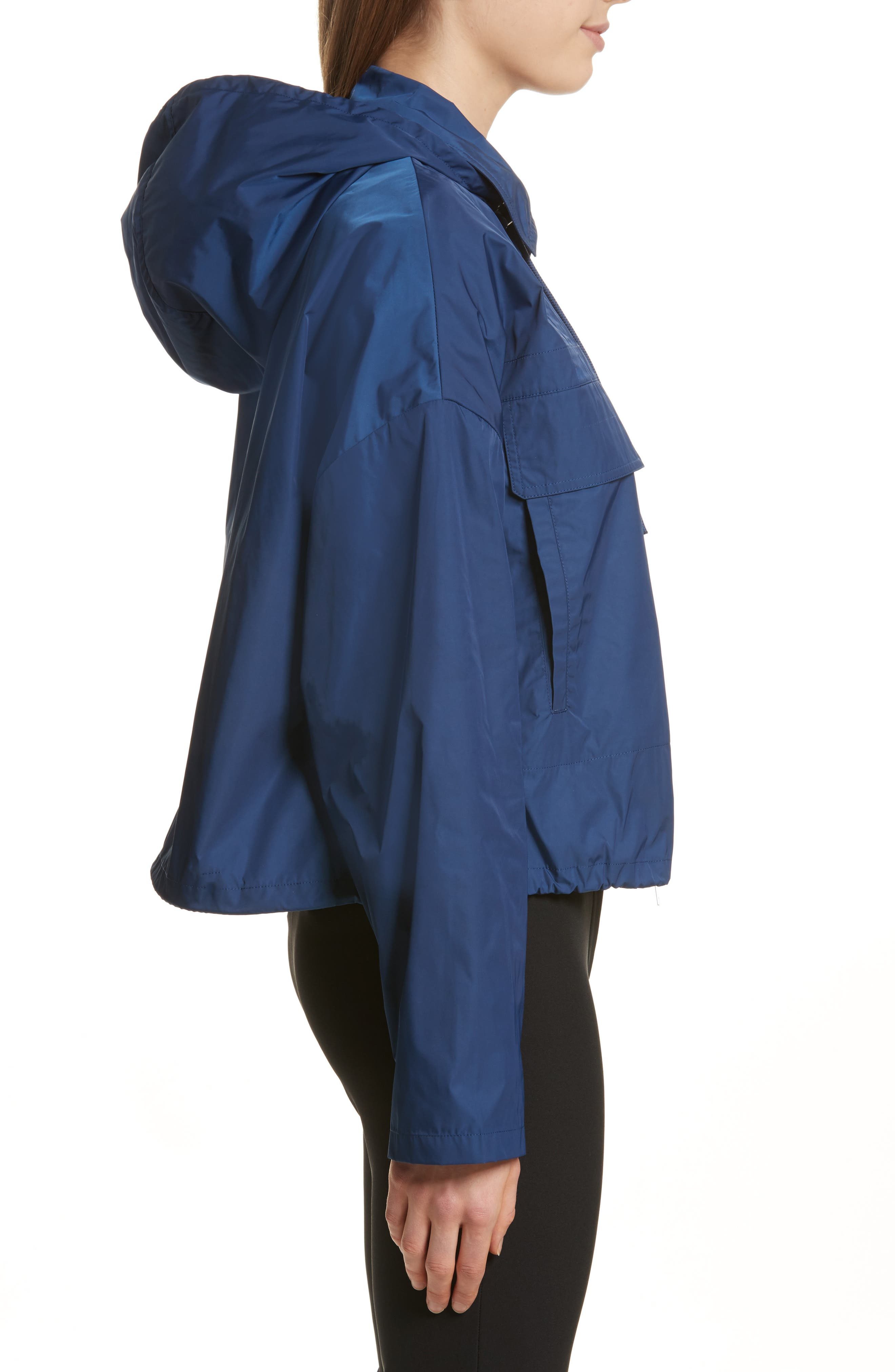 Active Twill Crop Hooded Jacket,                             Alternate thumbnail 3, color,                             Liberty Blue