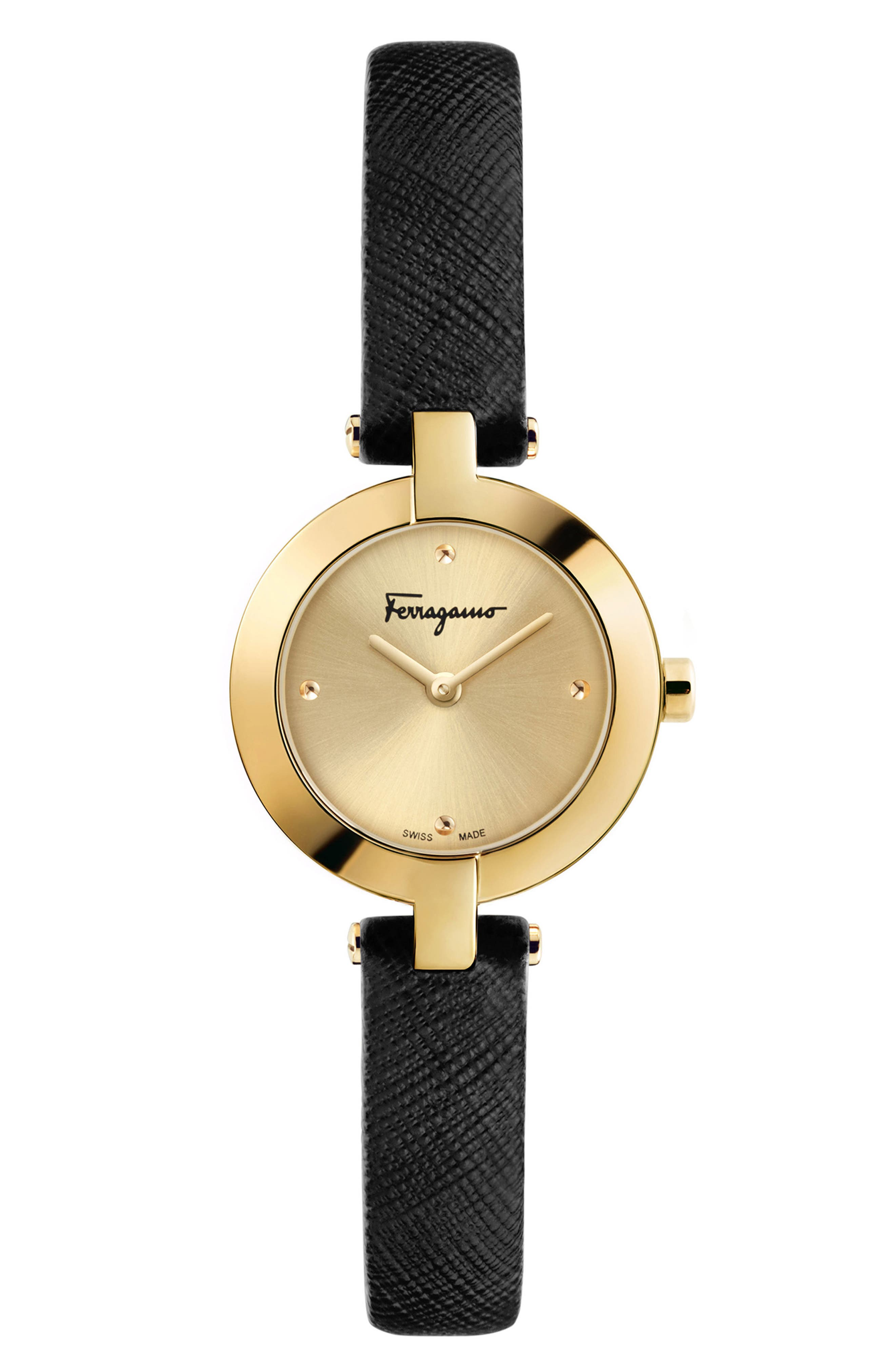 Miniature Leather Strap Watch, 26mm,                         Main,                         color, Black/ Gold