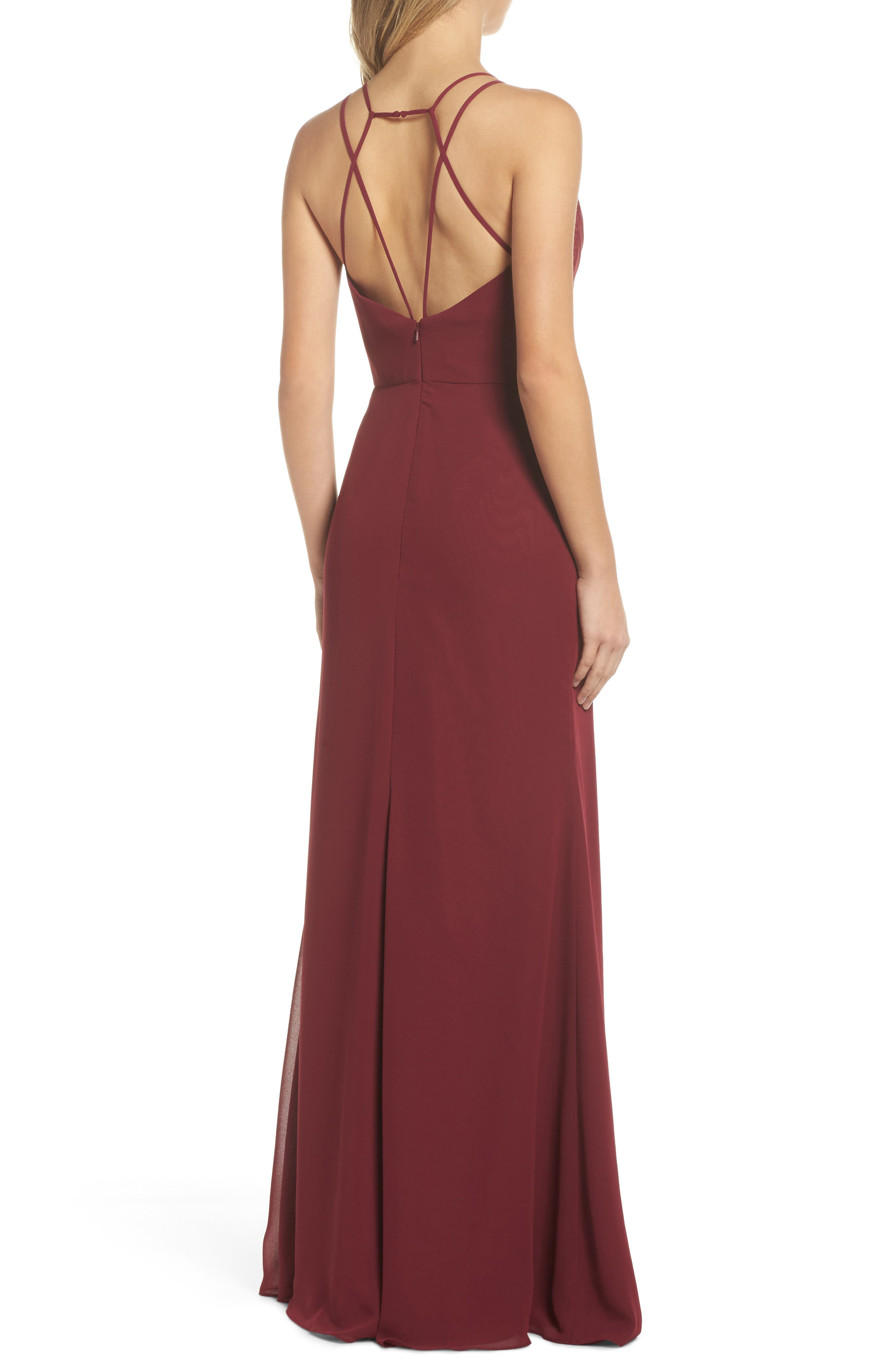 Chiffon Gown,                             Alternate thumbnail 2, color,                             Burgundy