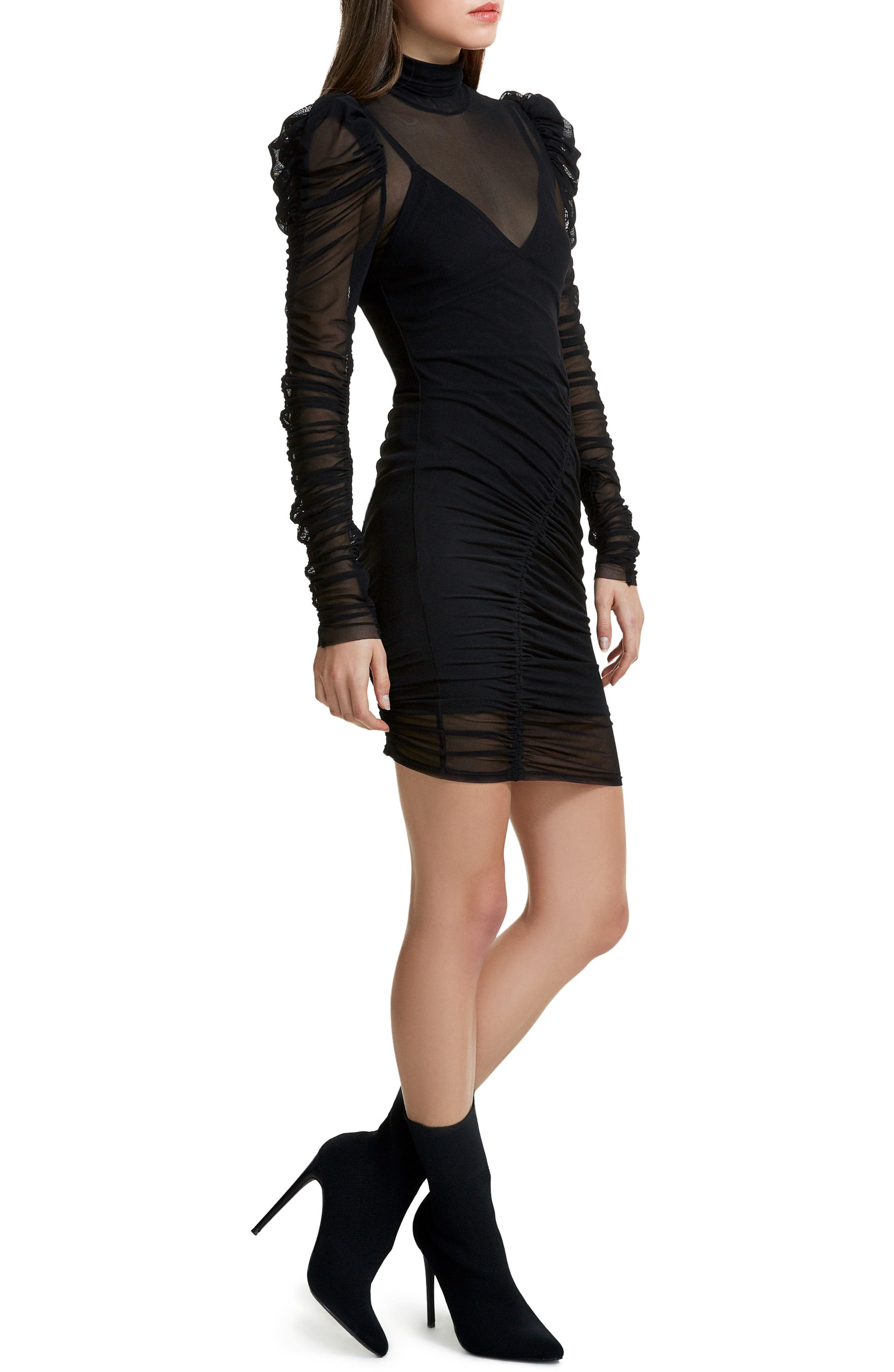 Angela Mesh Plaid Dress,                             Alternate thumbnail 4, color,                             Noir