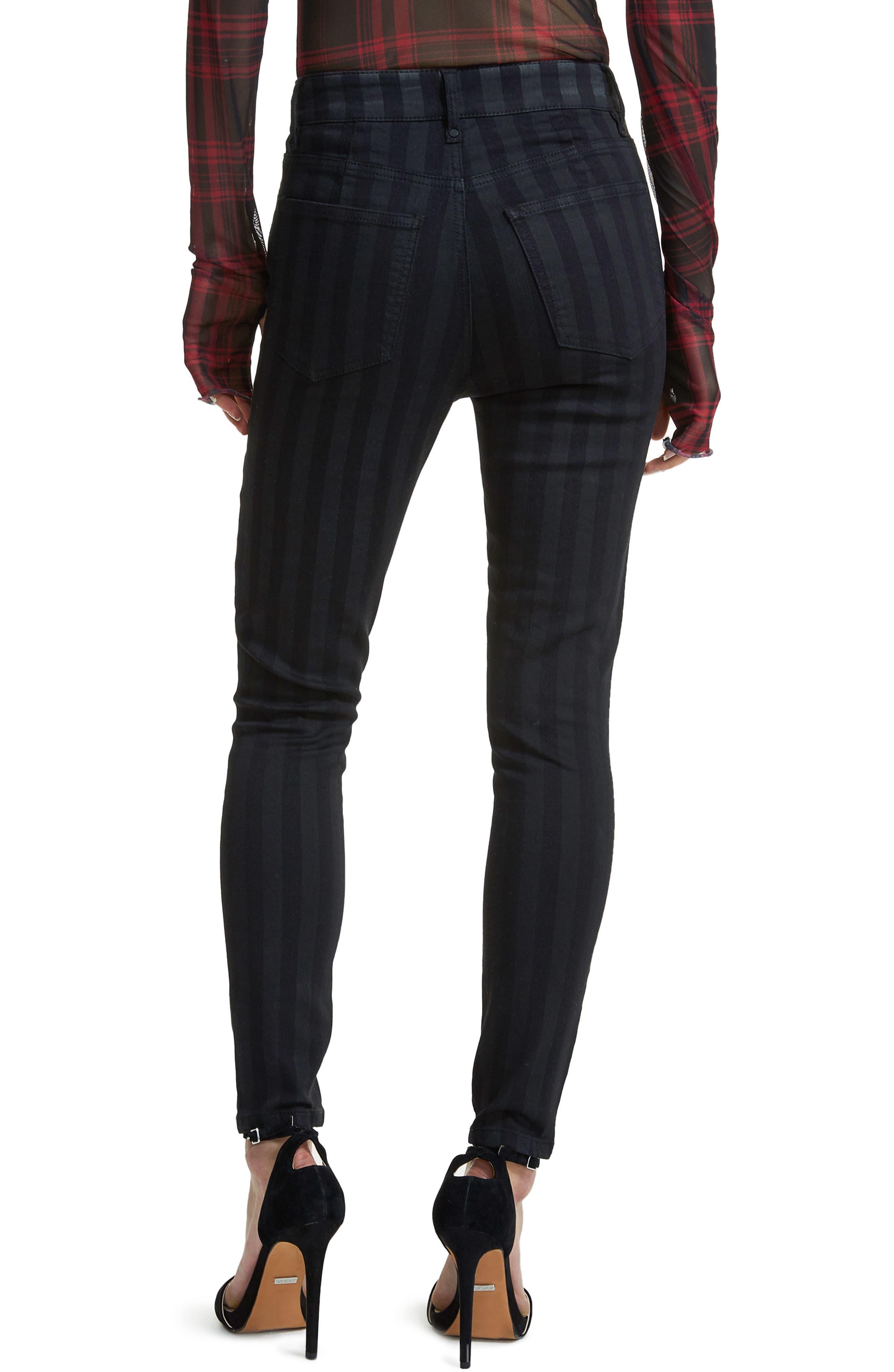 Alden Lace-Up Skinny Jeans,                             Alternate thumbnail 2, color,                             Noir Stripe