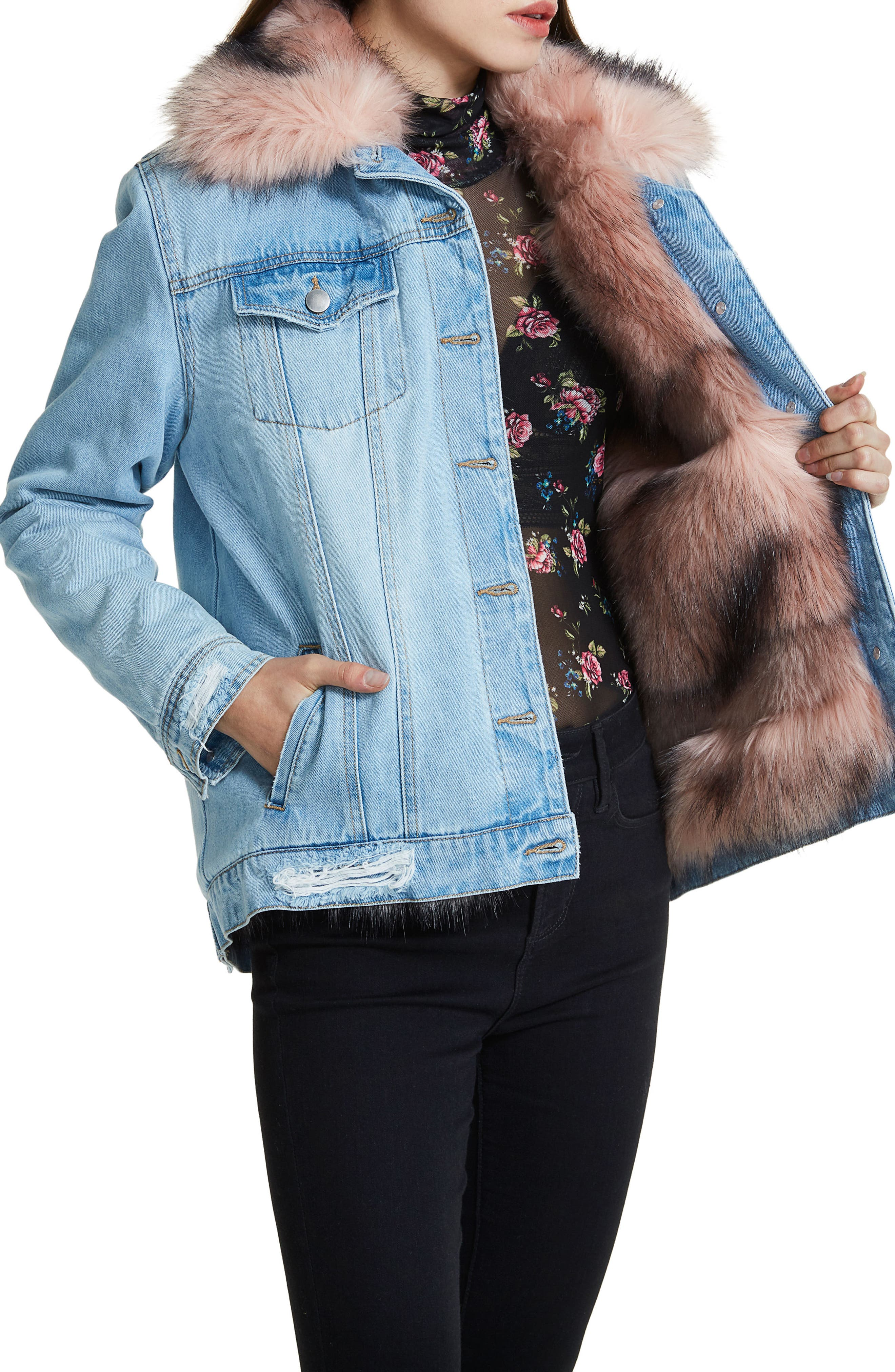 Alternate Image 4  - AFRM Izzy Faux Fur Trucker Jacket