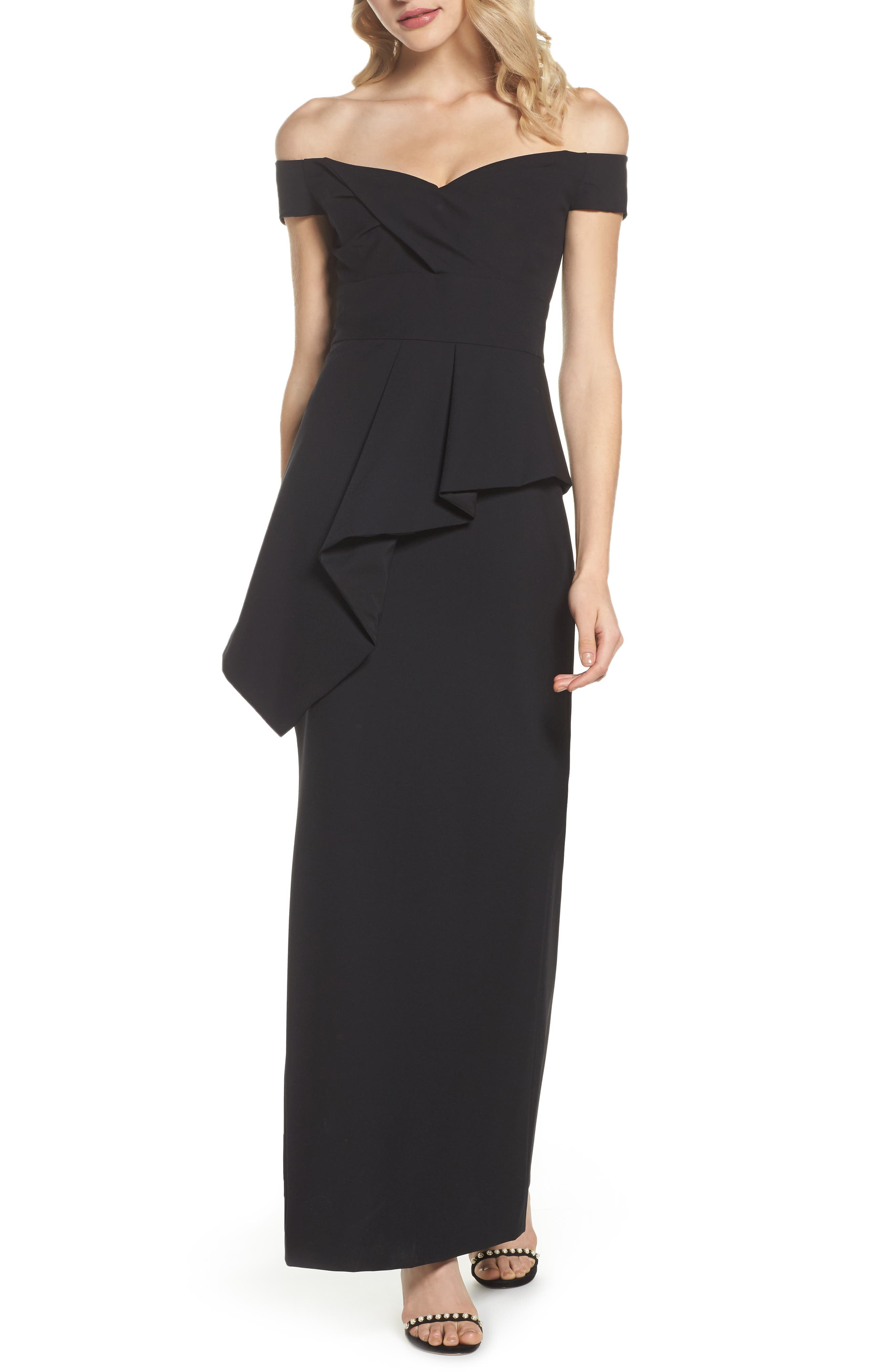 Pleated Peplum Off the Shoulder Gown,                         Main,                         color, Black
