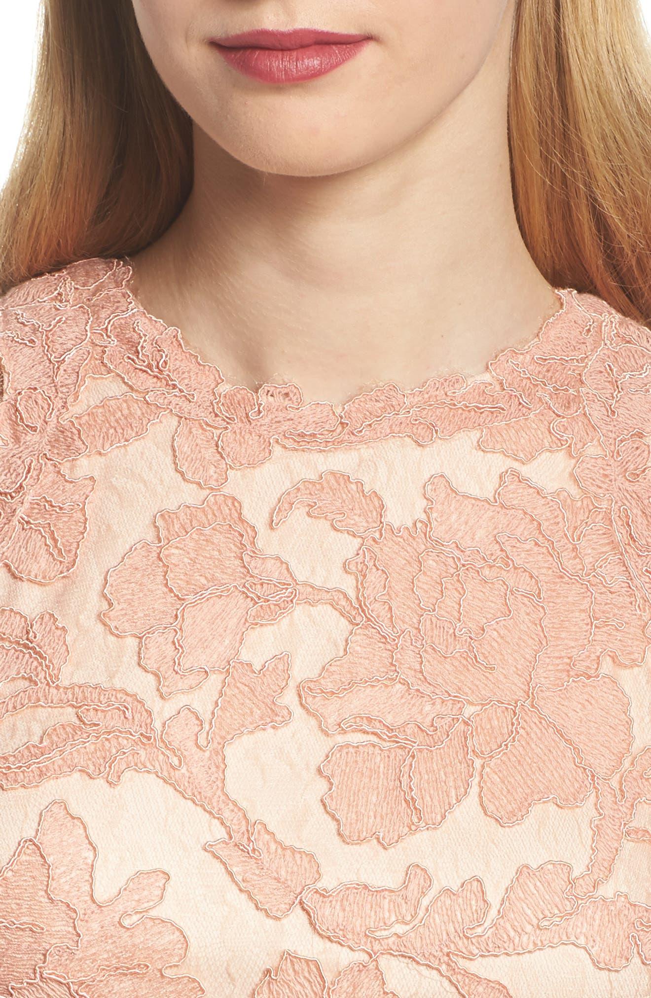 Alternate Image 4  - Tadashi Shoji Embroidered Tulip Hem Sheath Dress