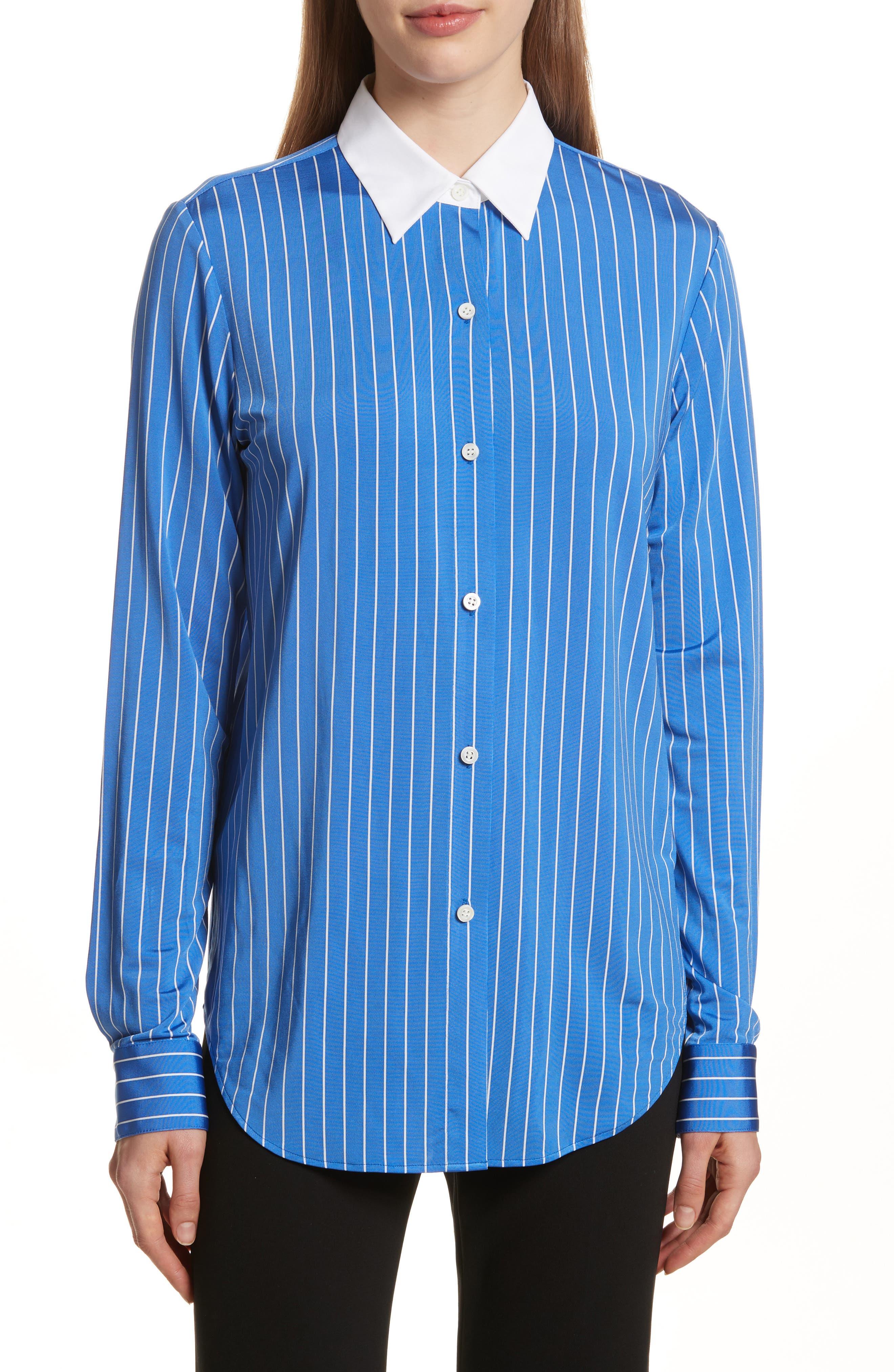 Essential Stripe Jersey Button Down Shirt,                             Main thumbnail 1, color,                             Blue/ White