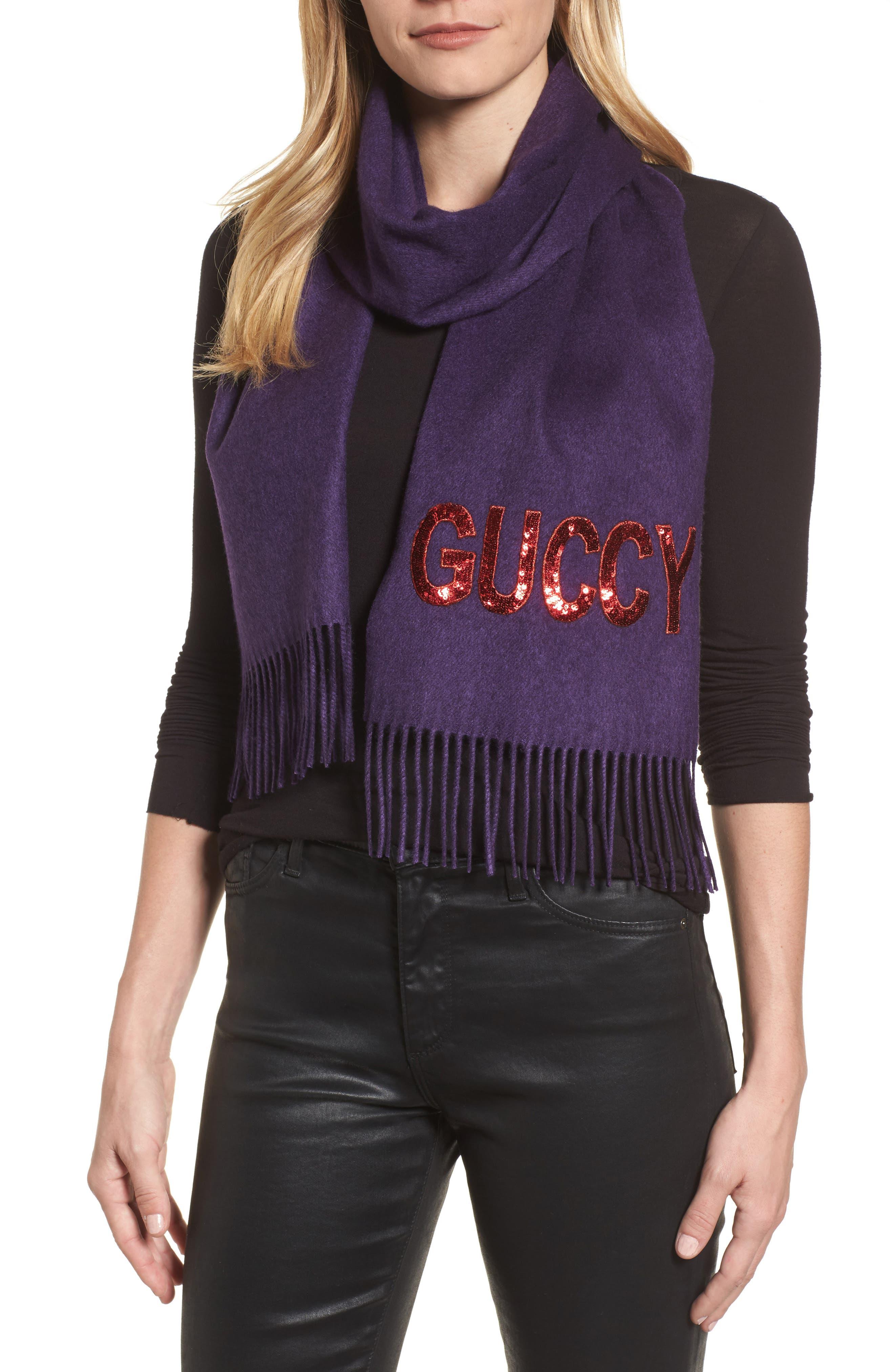 Alternate Image 2  - Gucci Guccy Sequin Silk & Cashmere Scarf