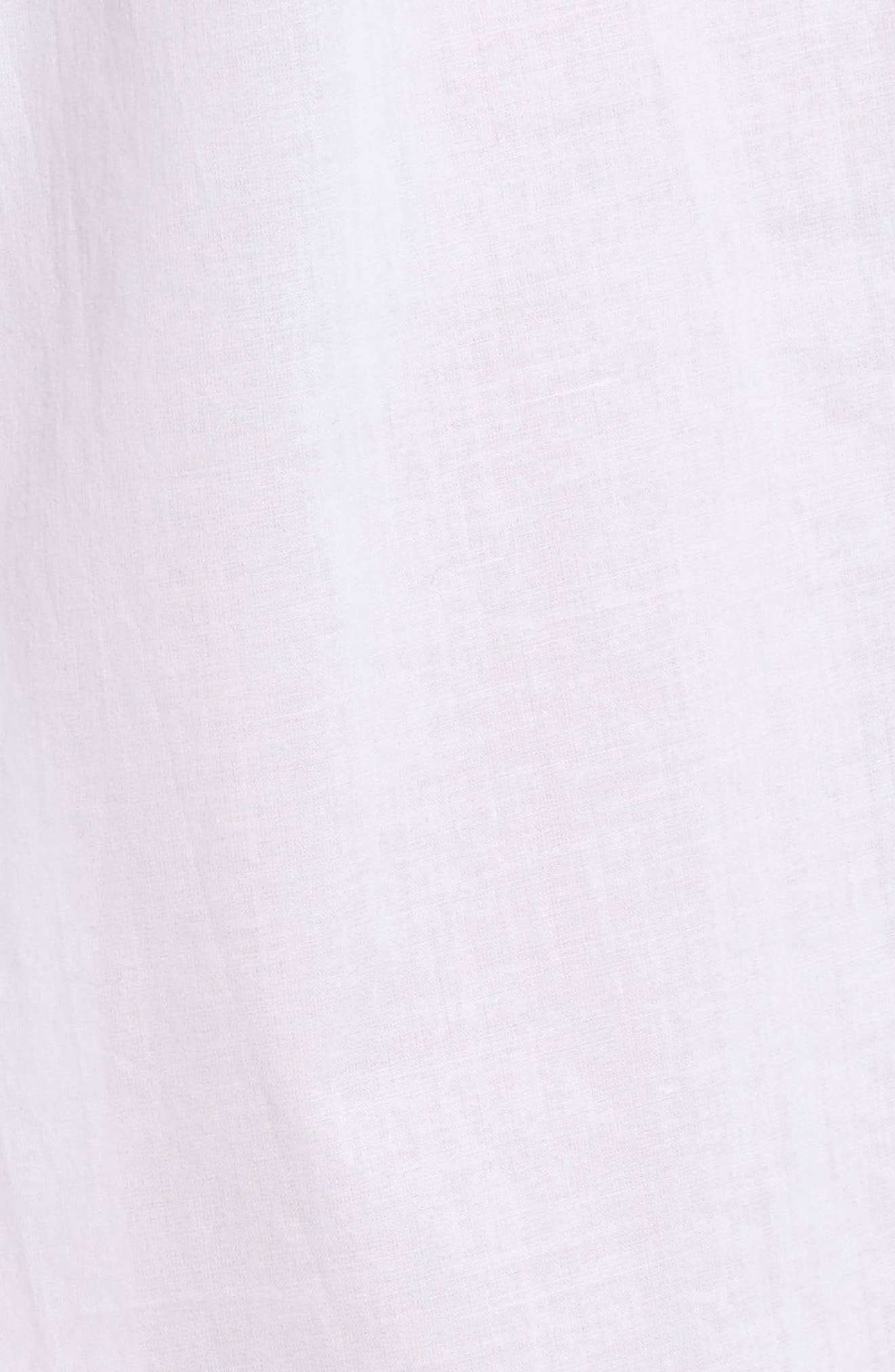 Button Front Cotton Nightgown,                             Alternate thumbnail 6, color,                             Solid White