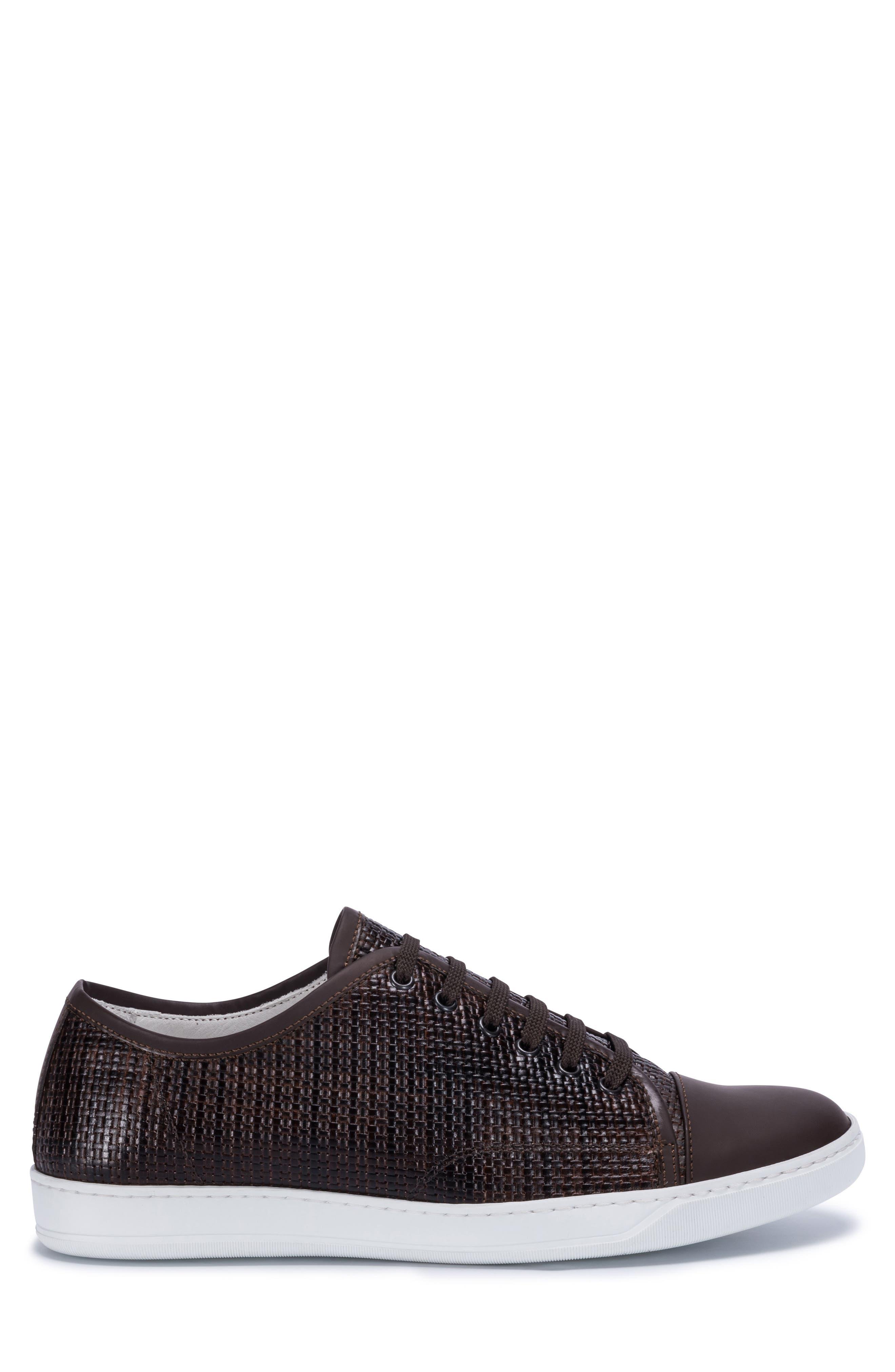 Cinque Terre Woven Cap Toe Sneaker,                             Alternate thumbnail 3, color,                             Brown Leather
