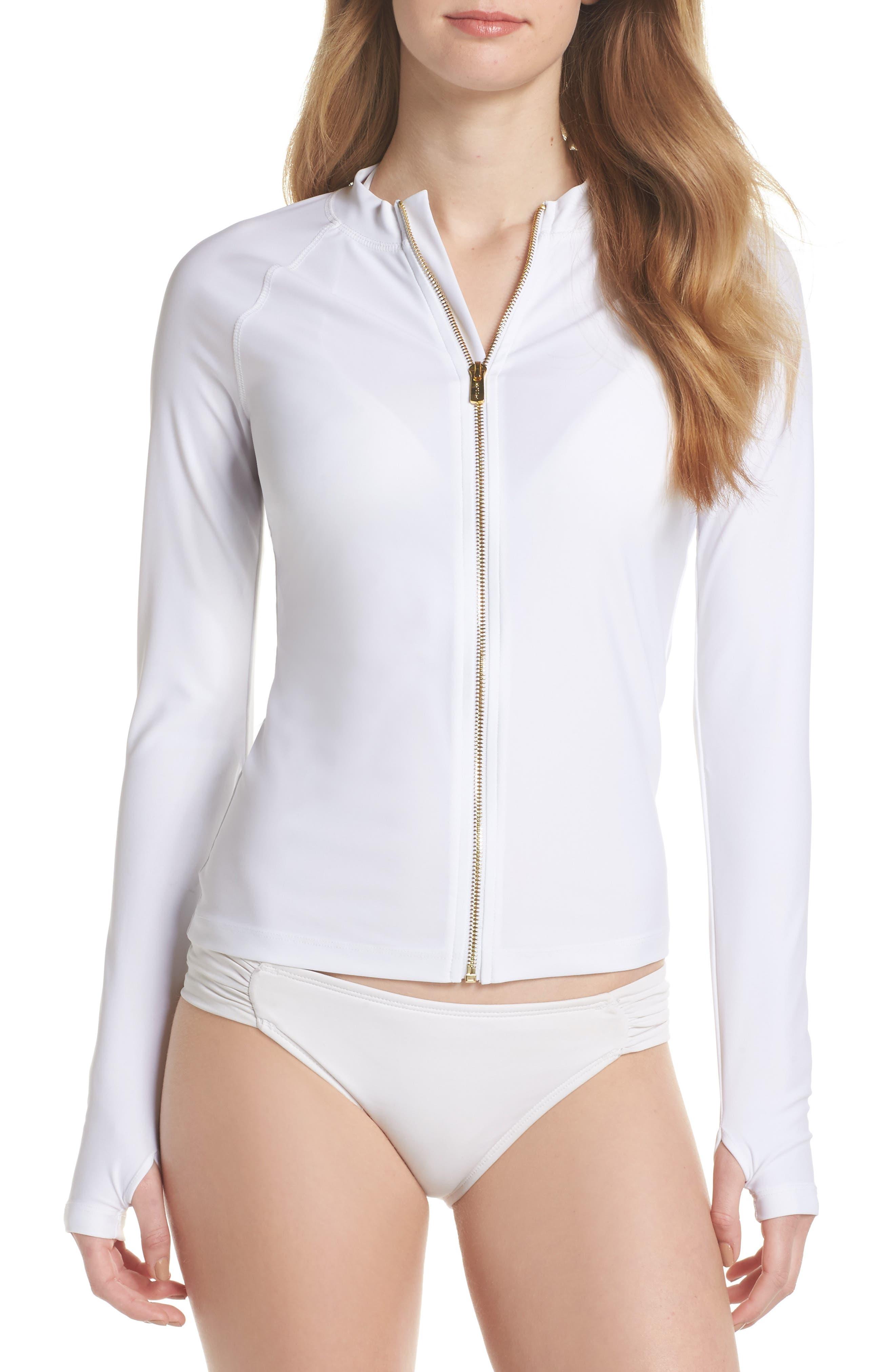 Zip Rashguard,                         Main,                         color, White