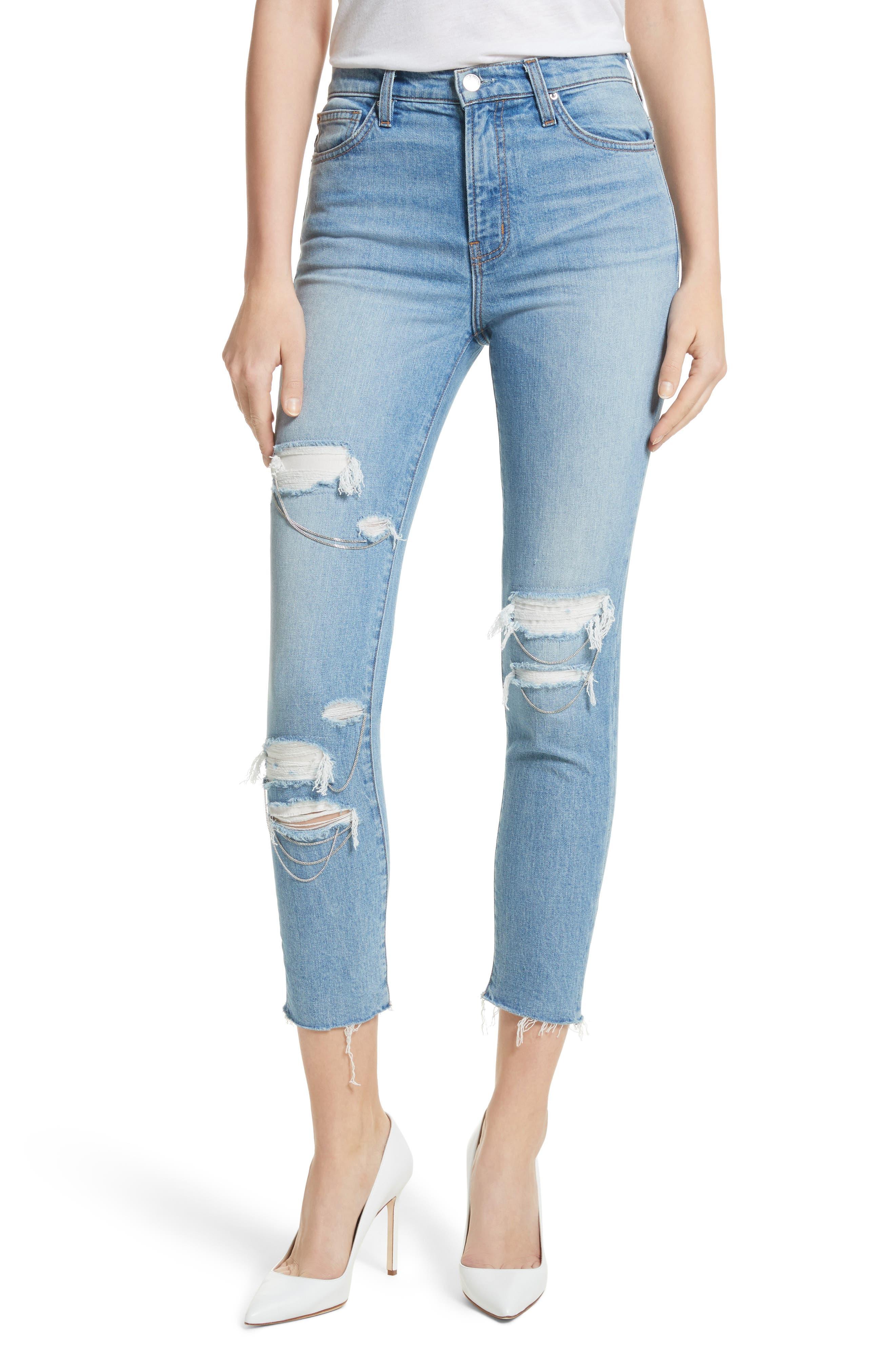 IRO Genn.US Chain Detail Ripped Skinny Jeans (Blue Vintage)