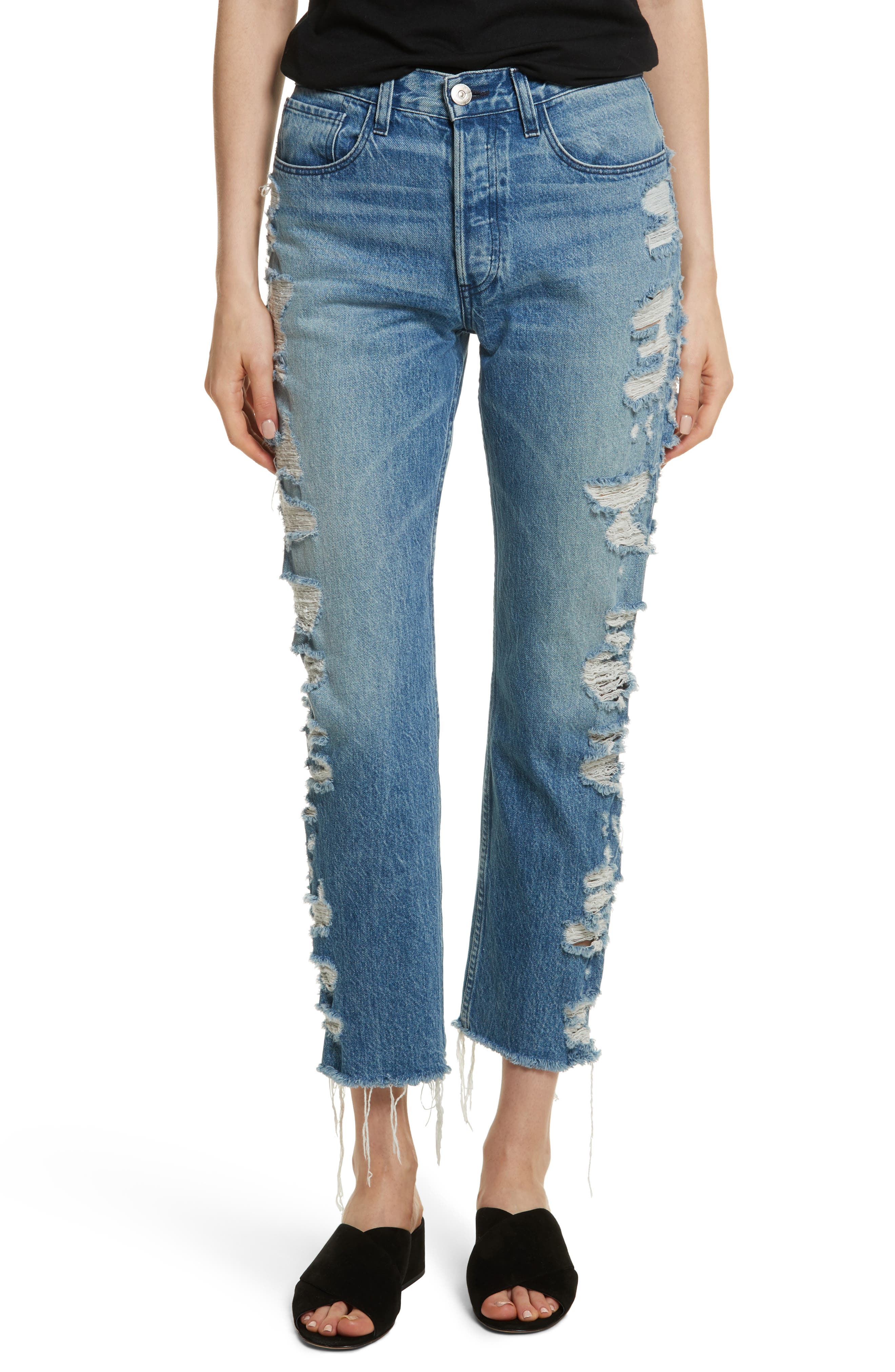W3 Higher Ground Distressed Ankle Slim Fit Jeans,                             Main thumbnail 1, color,                             Dosa