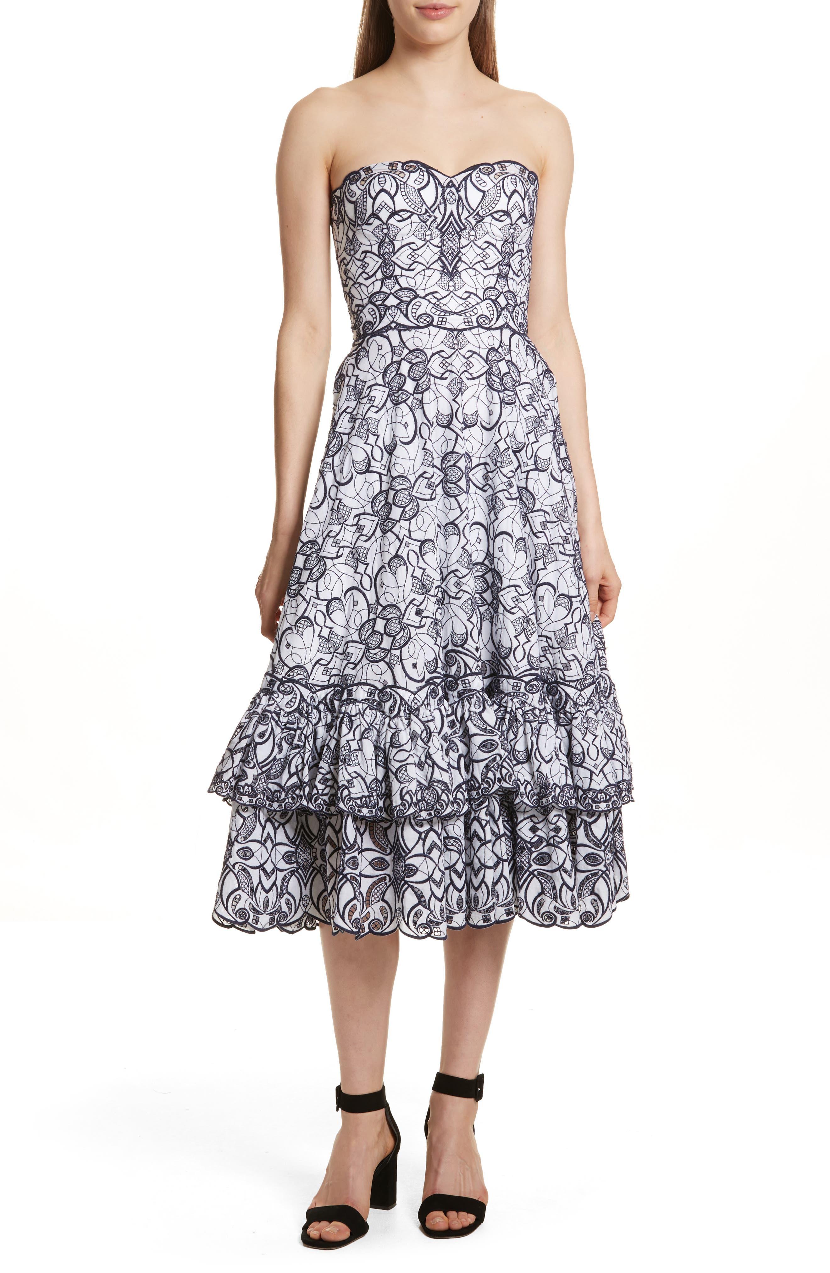 Main Image - Jonathan Simkhai Scallop Hem Embroidered Strapless Dress