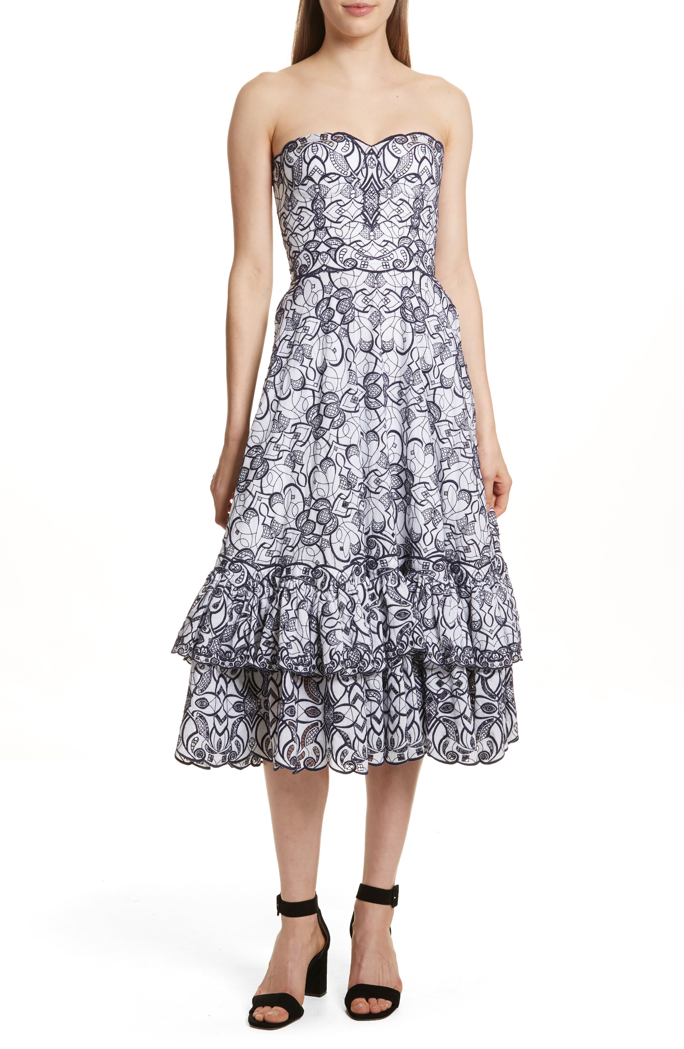 Scallop Hem Embroidered Strapless Dress,                         Main,                         color, White/ Midnight
