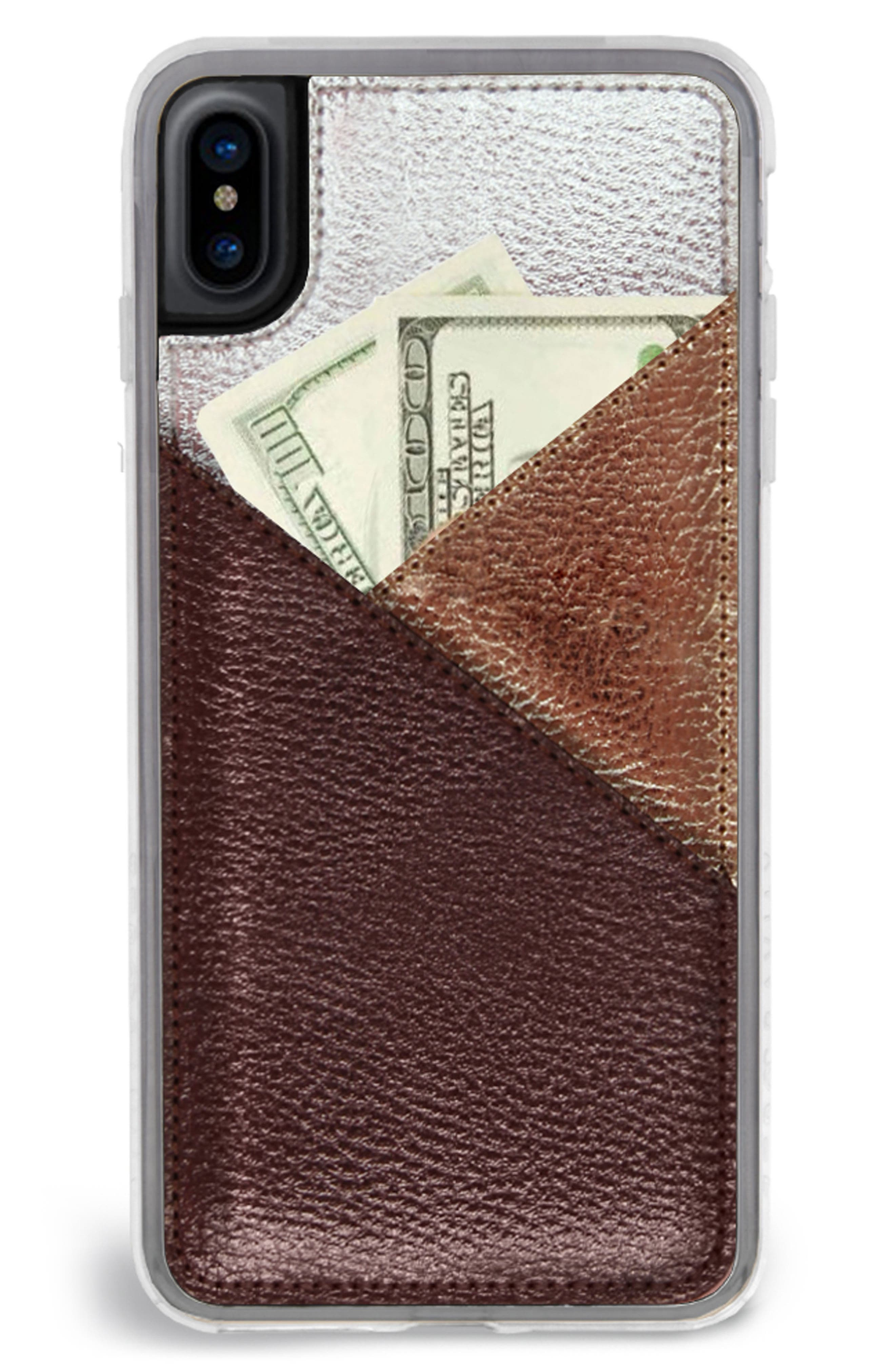 Gilded iPhone X Case,                         Main,                         color, Bronze Metallic