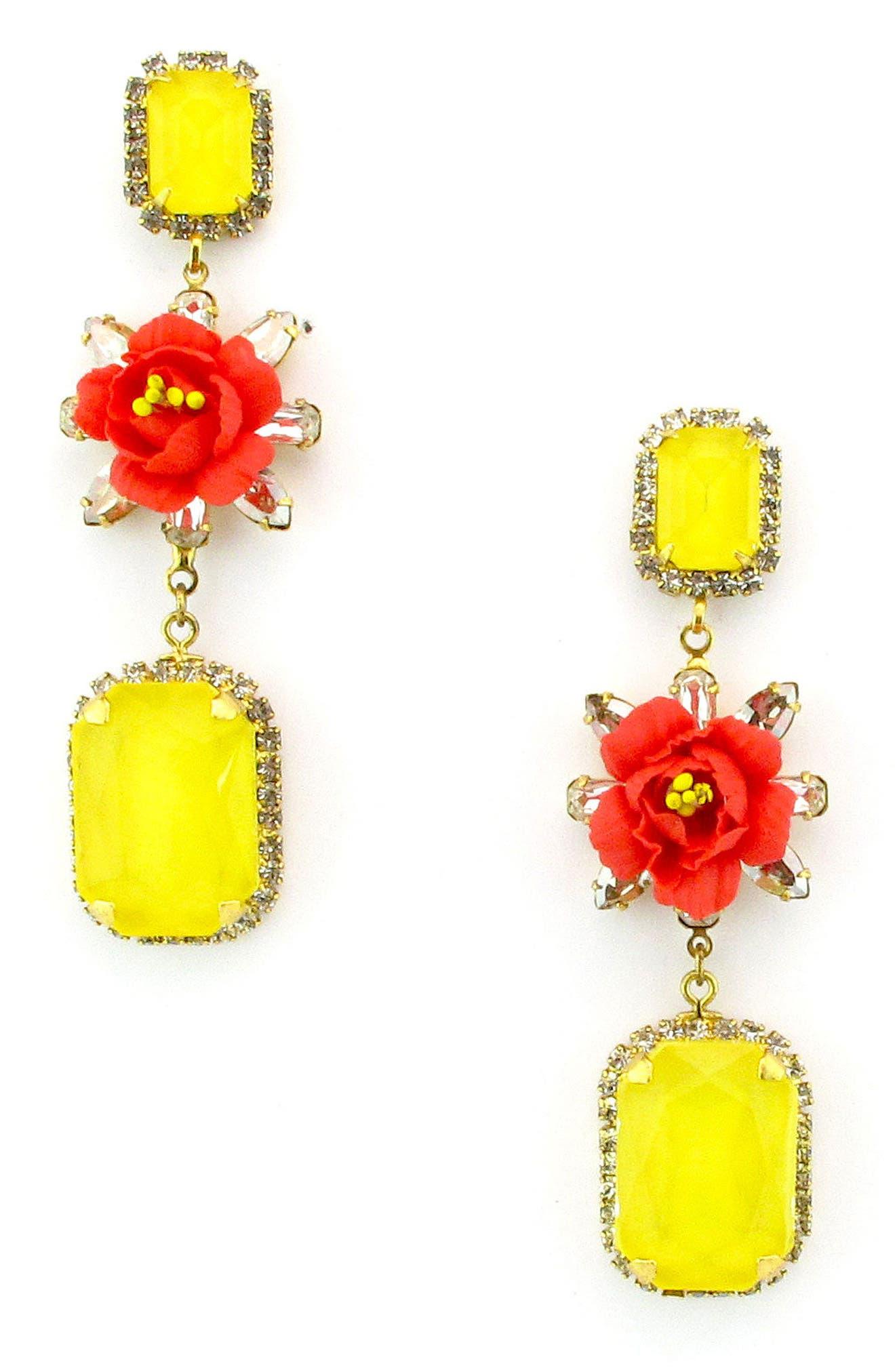 Graham Flower Drop Earrings,                             Main thumbnail 1, color,                             Fire
